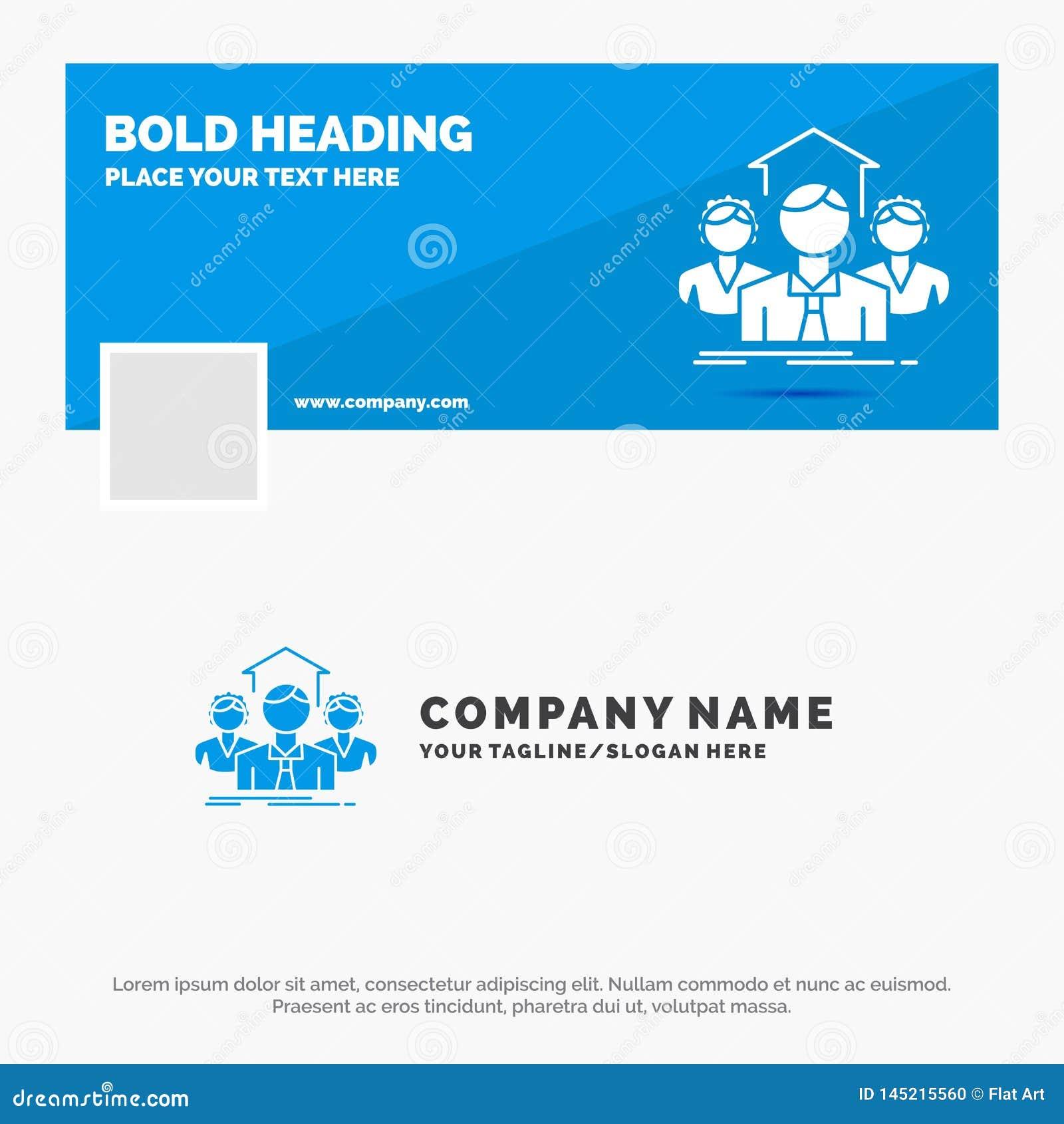 Affaires bleues Logo Template pour l équipe, affaires, travail d équipe, groupe, réunion Conception de banni?re de chronologie de