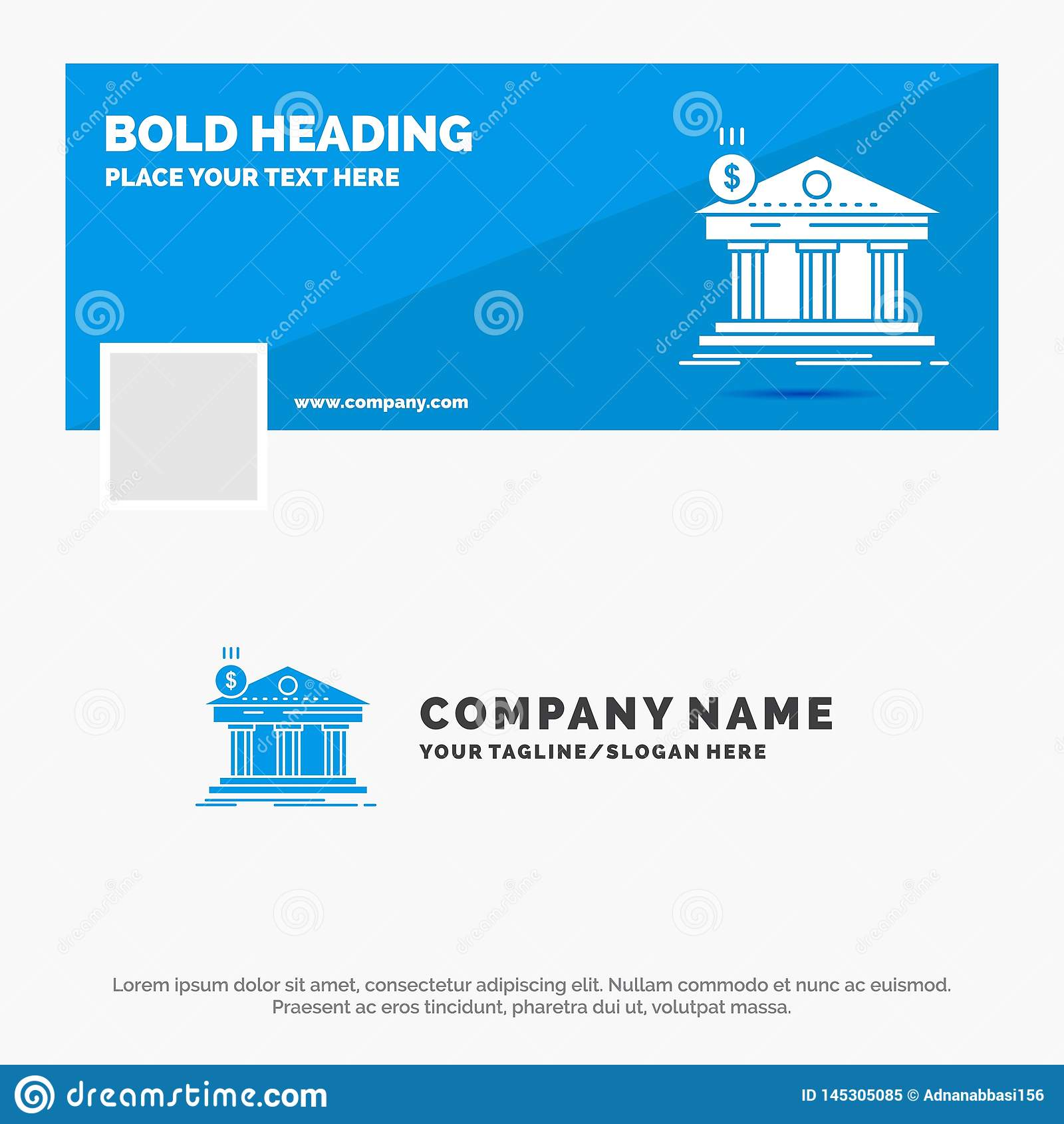 Affaires bleues Logo Template pour l architecture, banque, op?rations bancaires, b?timent, f?d?ral Conception de banni?re de chro