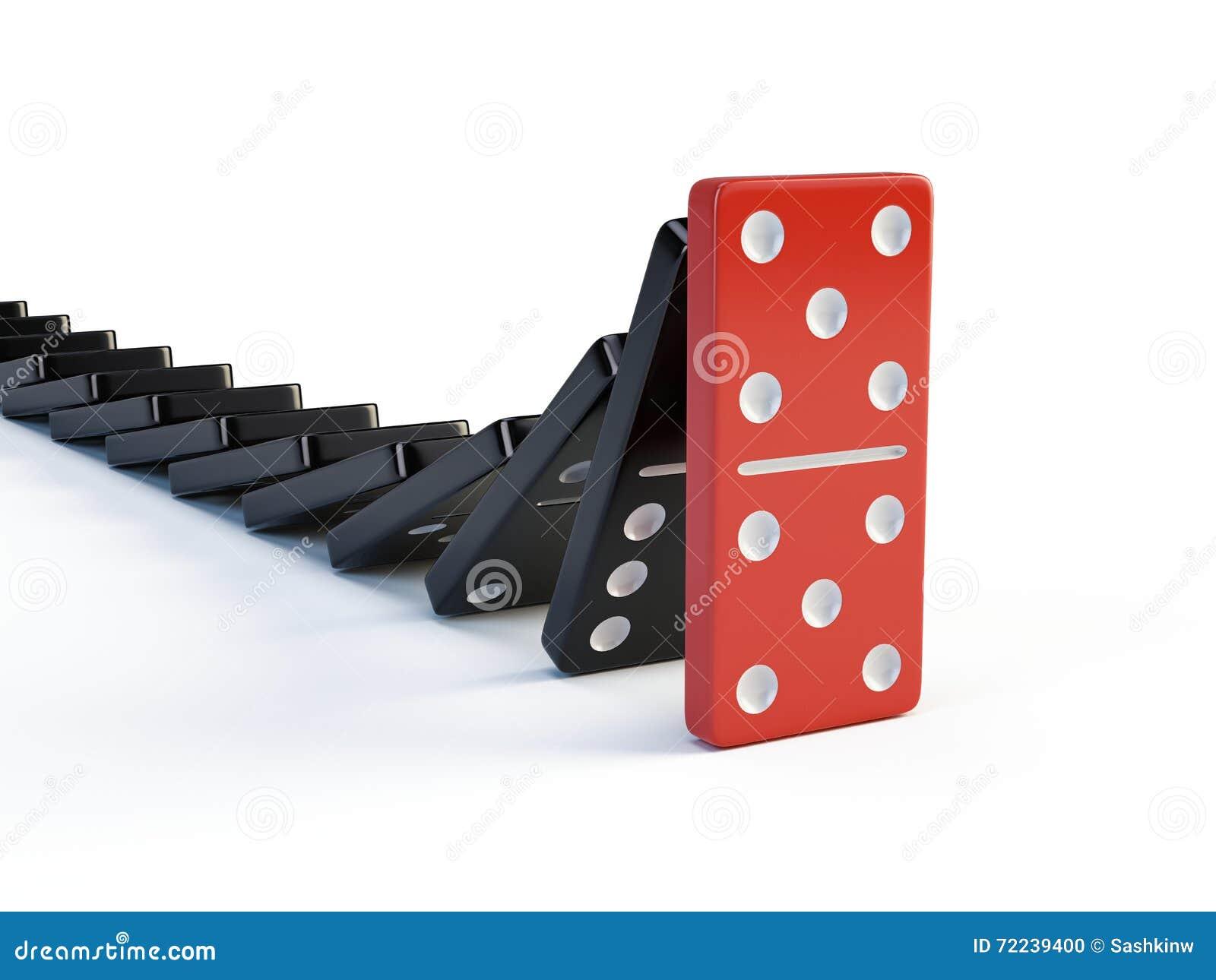 Affaires, direction et concept de travail d équipe - le domino rouge cesse de tomber d autres dominos