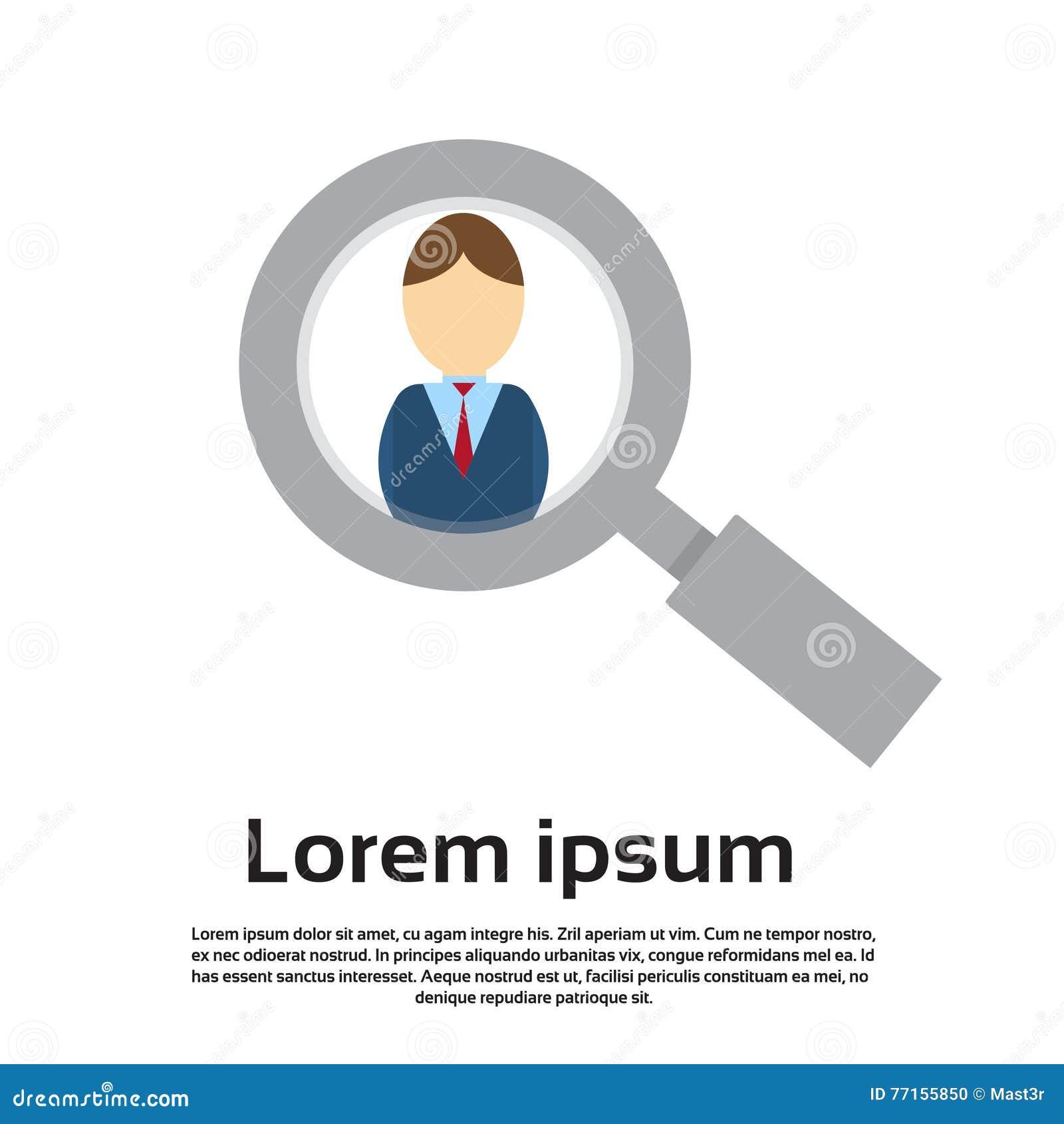 Affaires en verre de agrandissement Person Portrait Candidate Concept Recruitment de bourdonnement