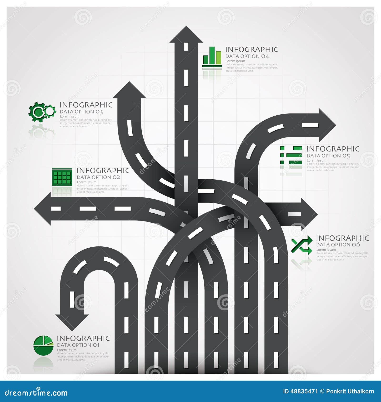 Affaires Infographic de poteau de signalisation de route et de rue avec tisser A