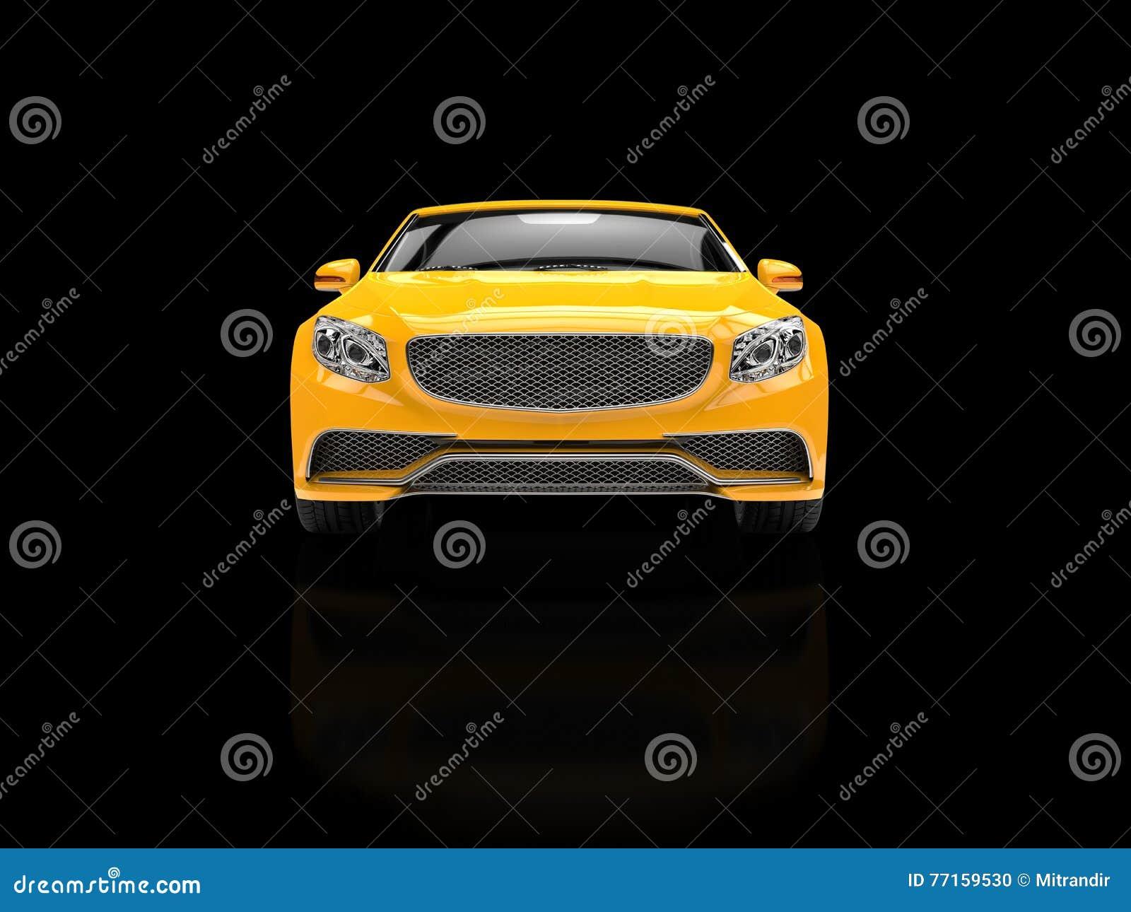Affaires modernes jaunes automobiles sur le fond réfléchi noir