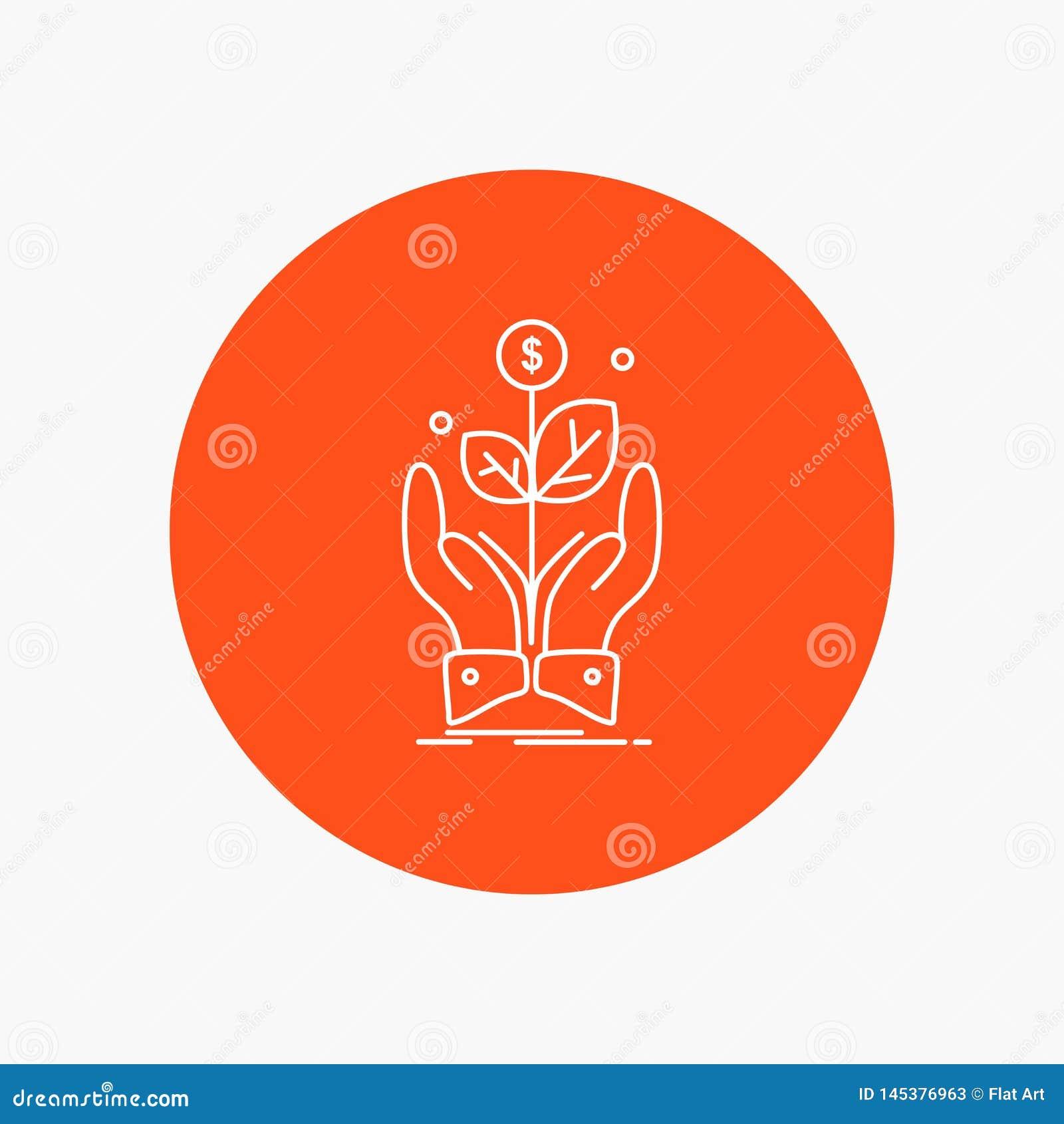 Affaires, société, croissance, usine, ligne blanche icône de hausse à l arrière-plan de cercle Illustration d ic?ne de vecteur