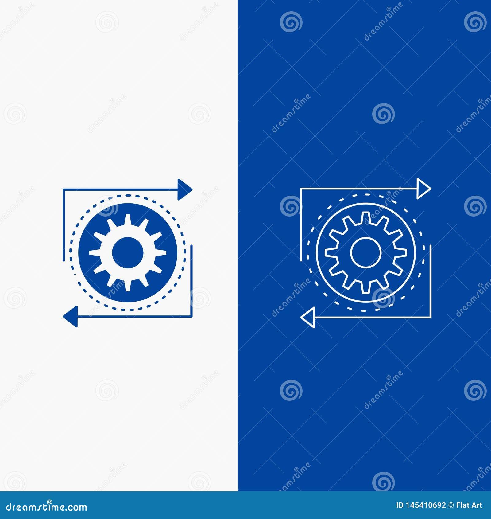 Affaires, vitesse, gestion, exécution, bouton de Web de chaîne de fabrication et de Glyph dans la bannière verticale de couleur b
