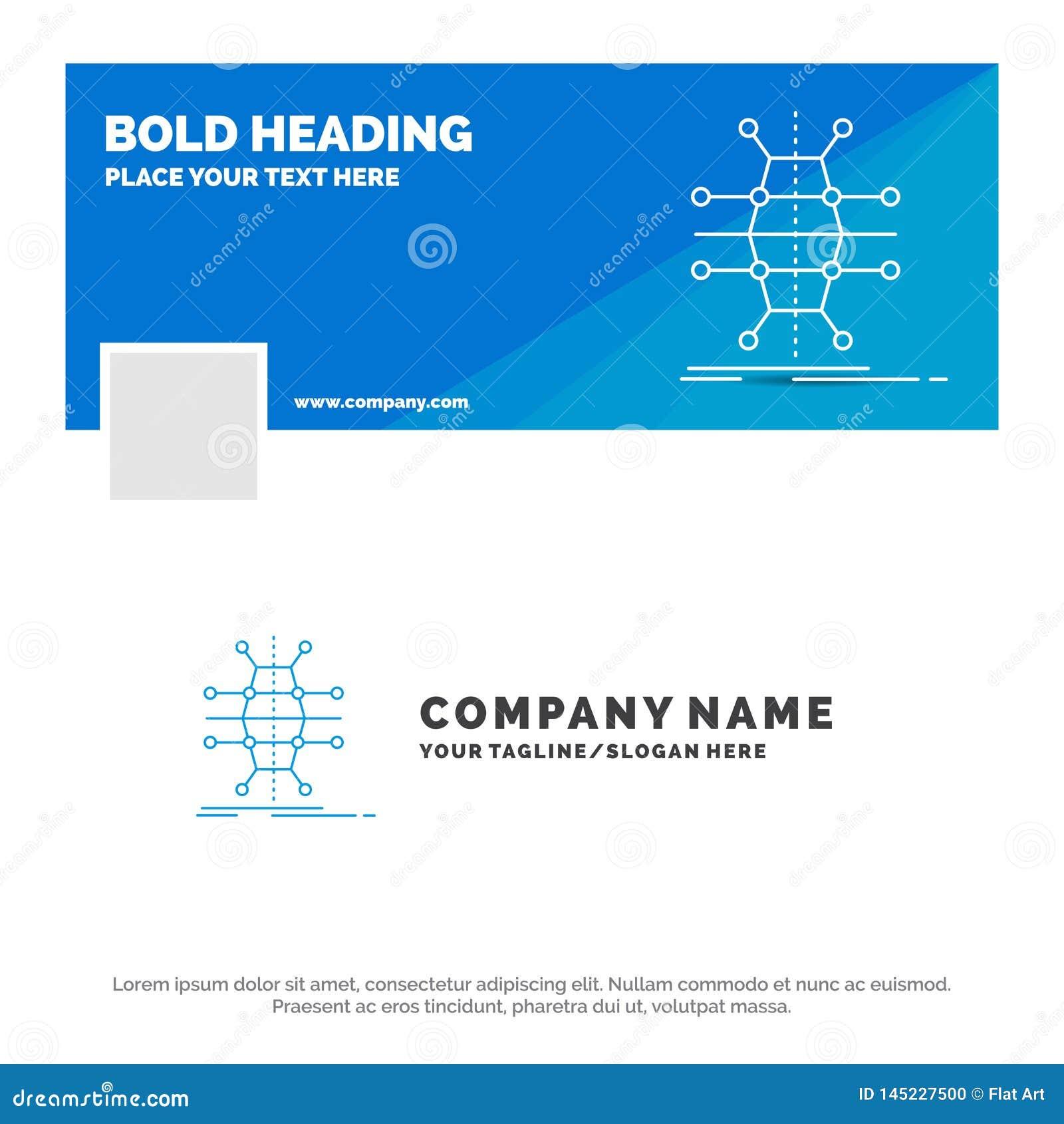 Affare blu Logo Template per distribuzione, griglia, infrastruttura, rete, astuta Progettazione dell insegna di cronologia di Fac