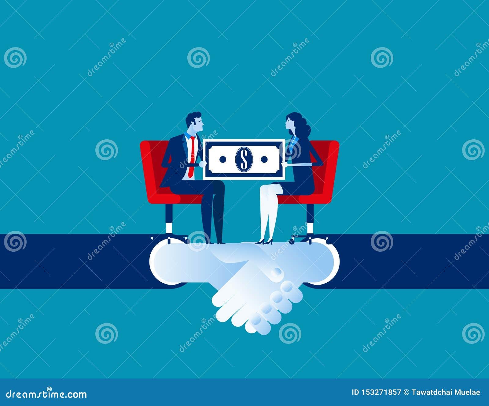 Affare corporativo ed accordo per l affare di commercio Illustrazione di vettore di affari di concetto Fumetto piano di affari, p