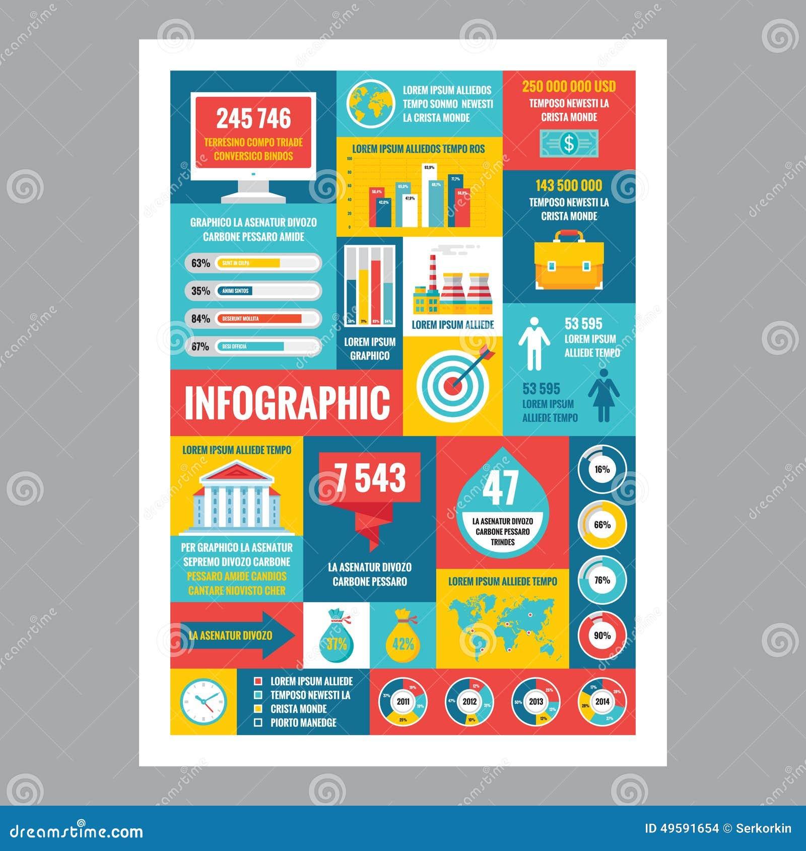 Affare infographic - manifesto del mosaico con le icone nello stile piano di progettazione Le icone di vettore hanno impostato
