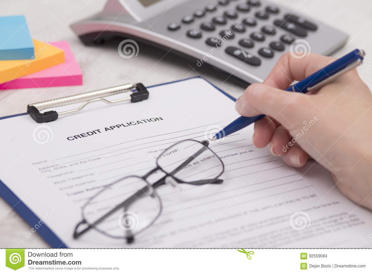 Affare Person Completing Credit Application