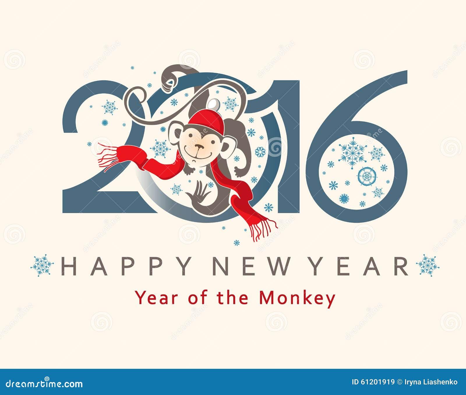 Affe im Kreis Auslegung des neuen Jahres 2016