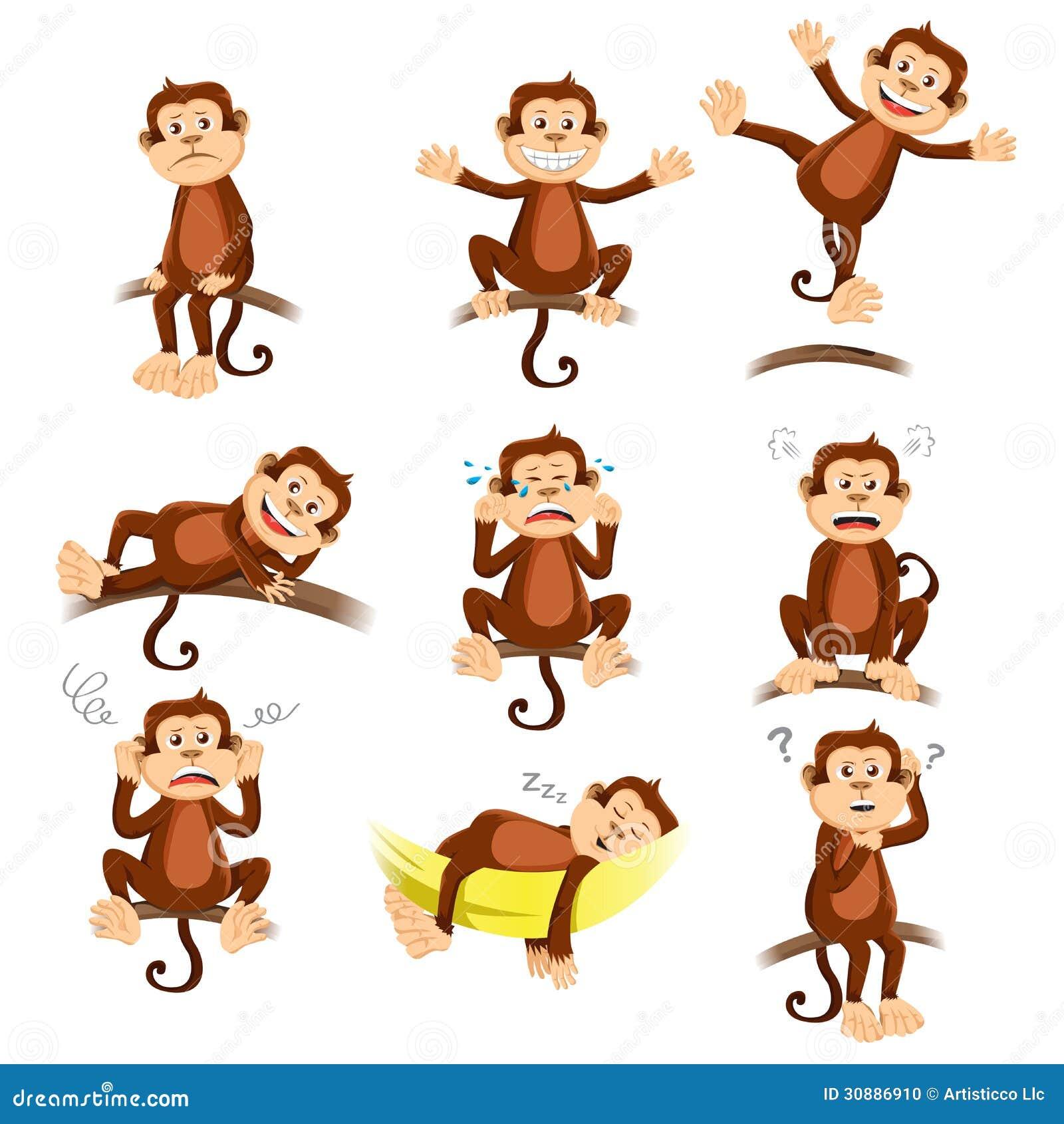 Affe Mit Unterschiedlichem Ausdruck Stockfoto Bild 30886910