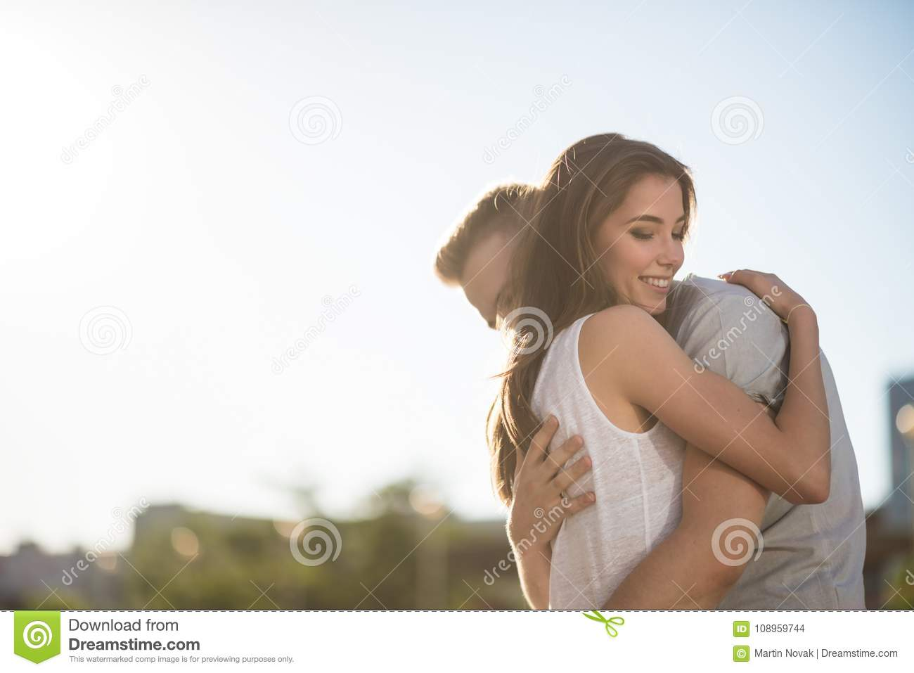 Affectionate Love Teen Couple Embracing Stock Photo Image Of Flare Outdoor 108959744