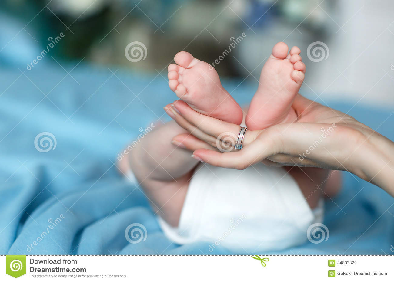 Affectionate Mother`s Hands Gently Support Legs Baby Stock Image ...