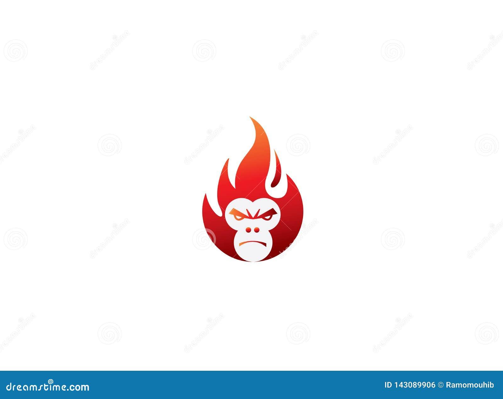 Affekopf mit verärgertem Gesicht in einer Feuerkugel für Logoentwurf