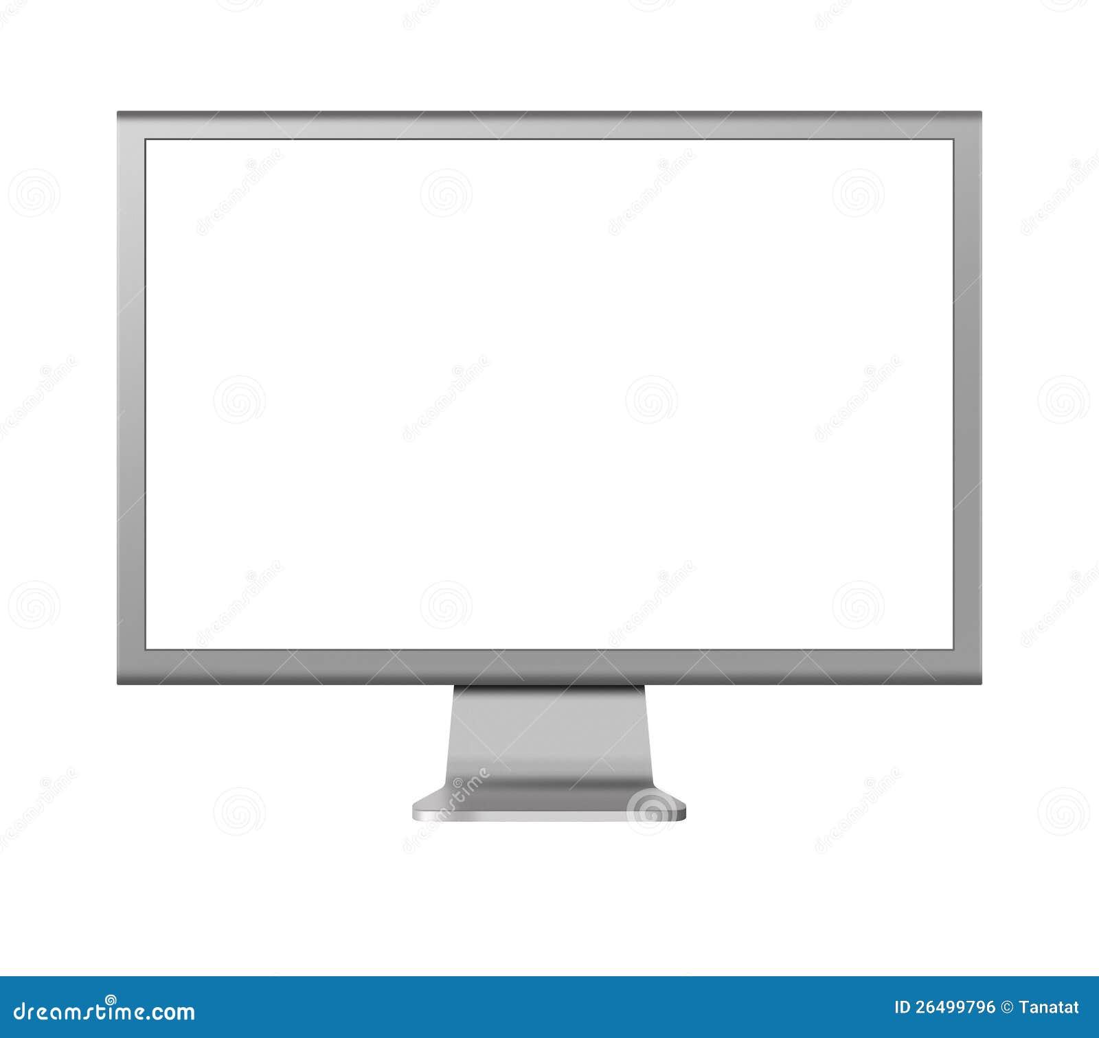 affichage cristaux liquides de moniteur d ordinateur avec l cran blanc sur le blanc. Black Bedroom Furniture Sets. Home Design Ideas