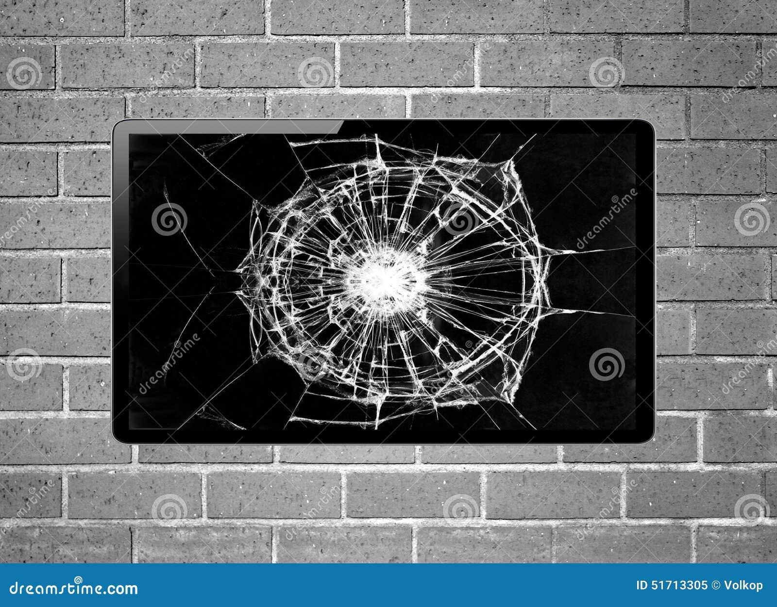 Affichage à Cristaux Liquides TV D'écran Vide Avec L'écran Cassé Accrochant Sur Un Mur Image ...