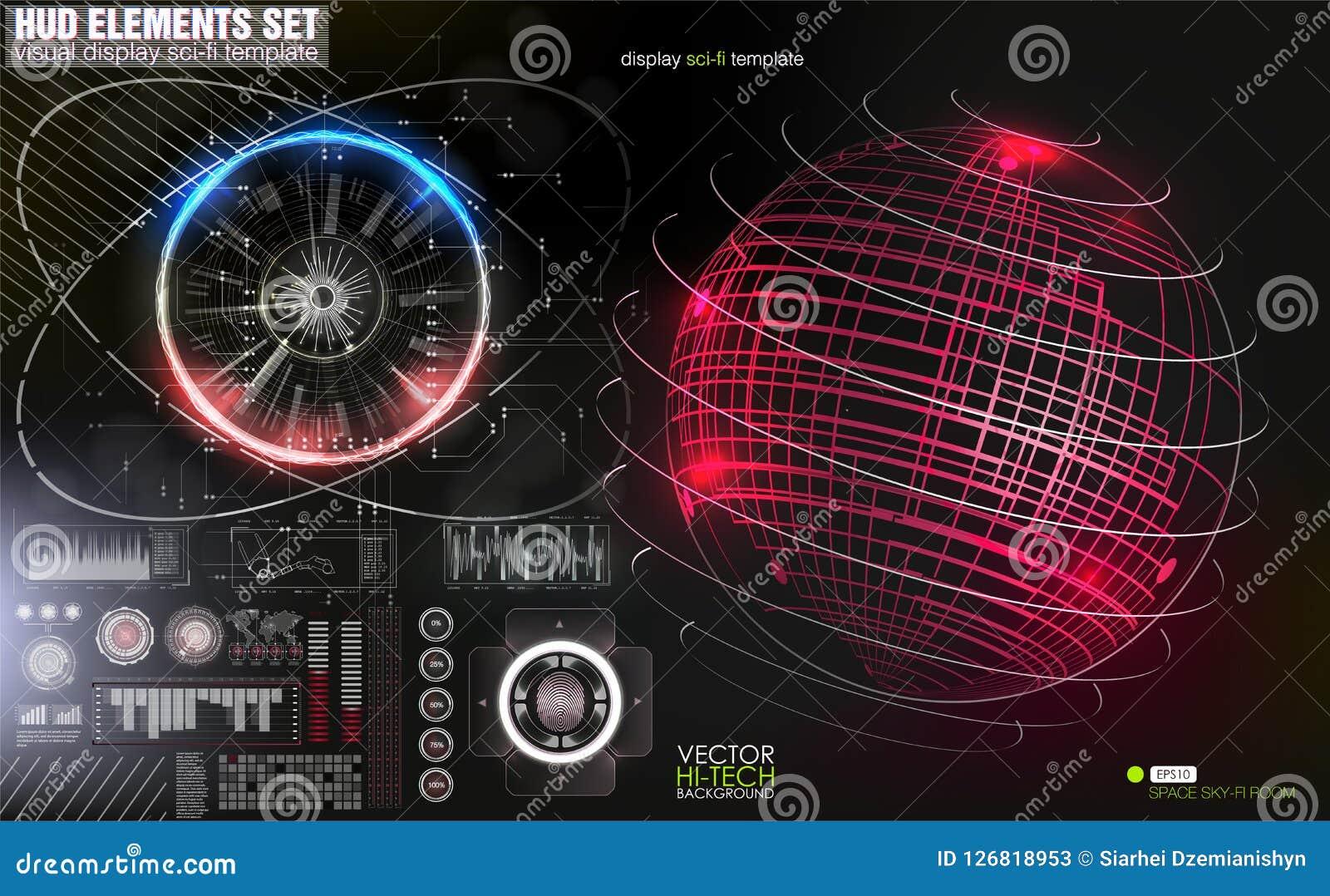 Affichage à lecture tête haute de Hud Confrontation de l état sur la carte L interface de l avenir, a placé l interface de l outi