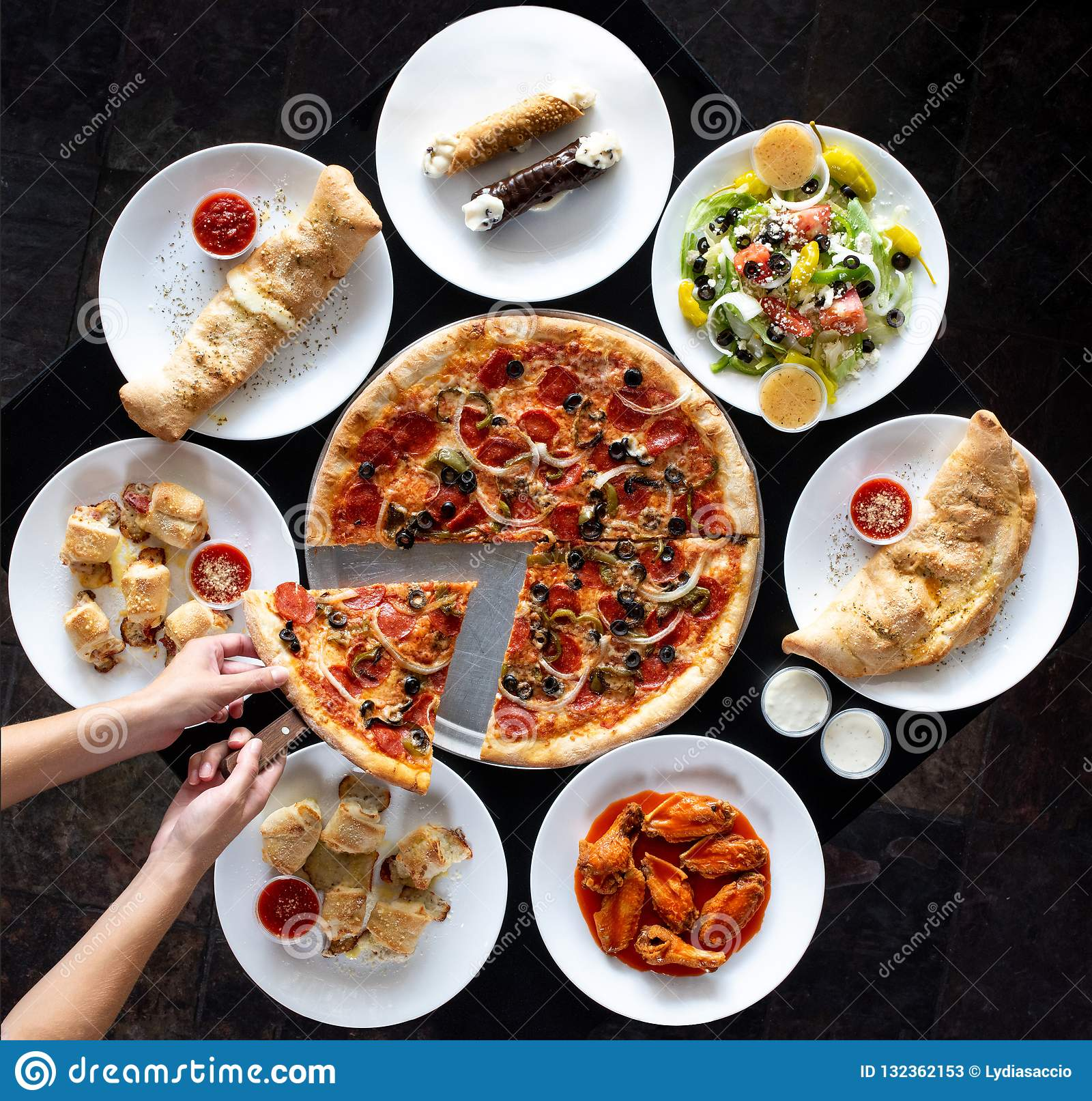 Affichage circulaire de nourriture italienne de restaurant