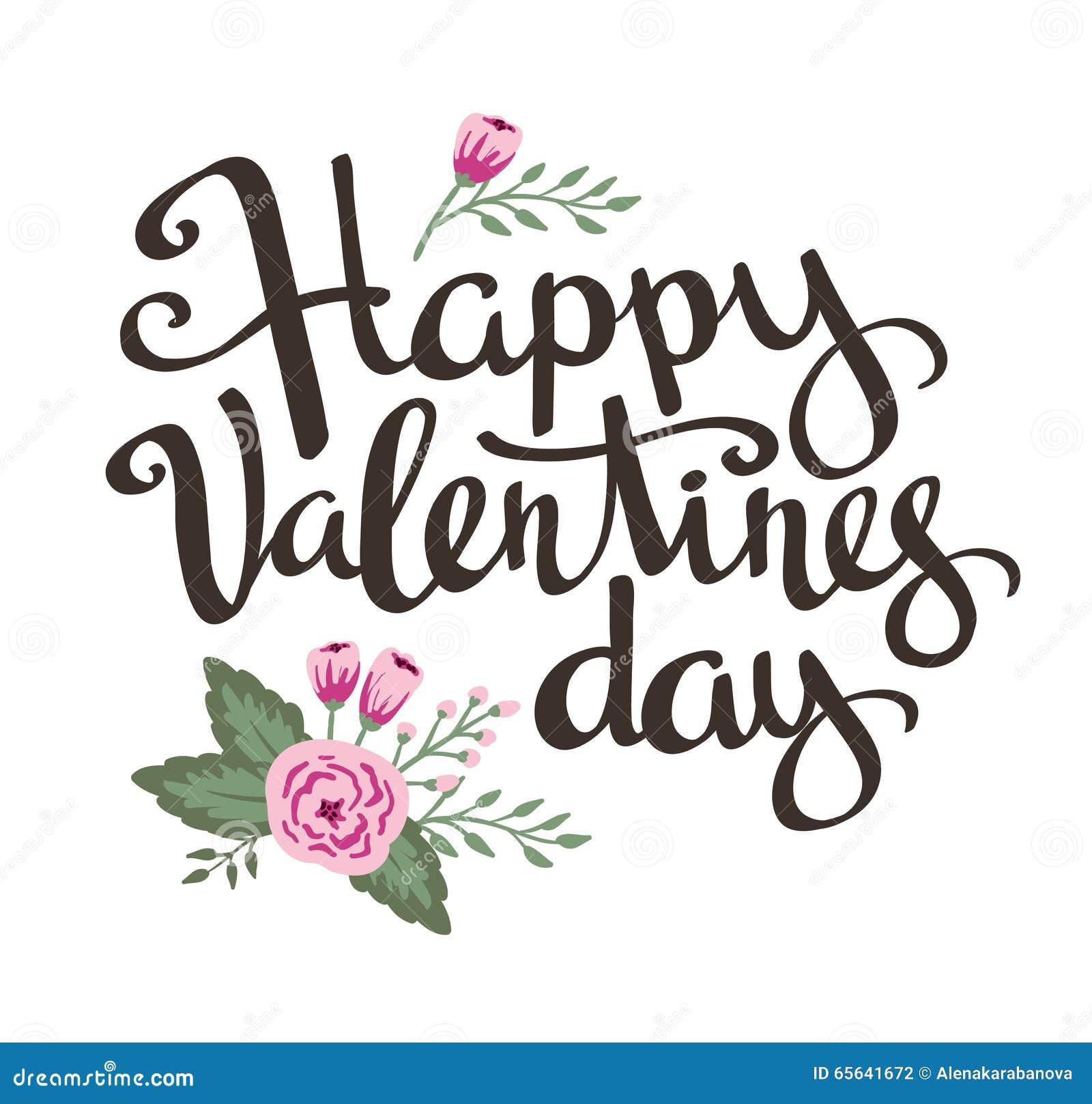Affiche élégante d amour avec des fleurs Vecteur de vintage marquant avec des lettres la Saint-Valentin heureuse
