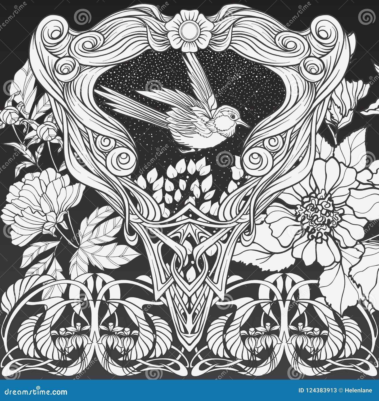 Affiche, achtergrond met decoratieve bloemen en vogel in Jugendstilstijl Zwart-witte grafiek N