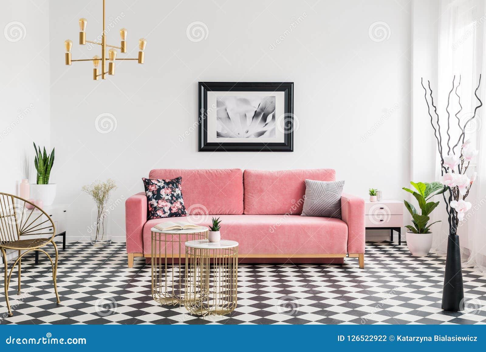Cadre Au Dessus Du Canapé affiche au-dessus de canapé rose dans l'intérieur spacieux
