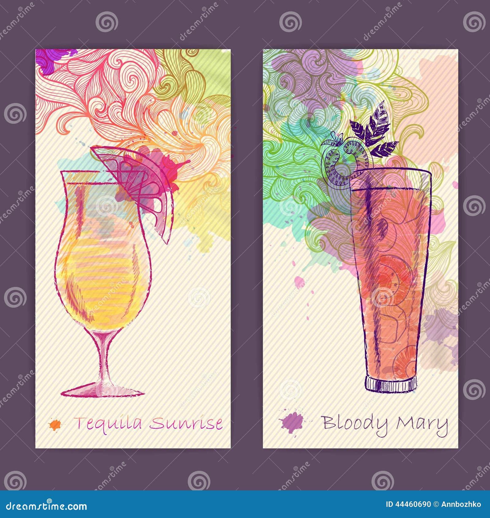 affiche d corative artistique de cocktail d 39 aquarelle illustration de vecteur image 44460690. Black Bedroom Furniture Sets. Home Design Ideas
