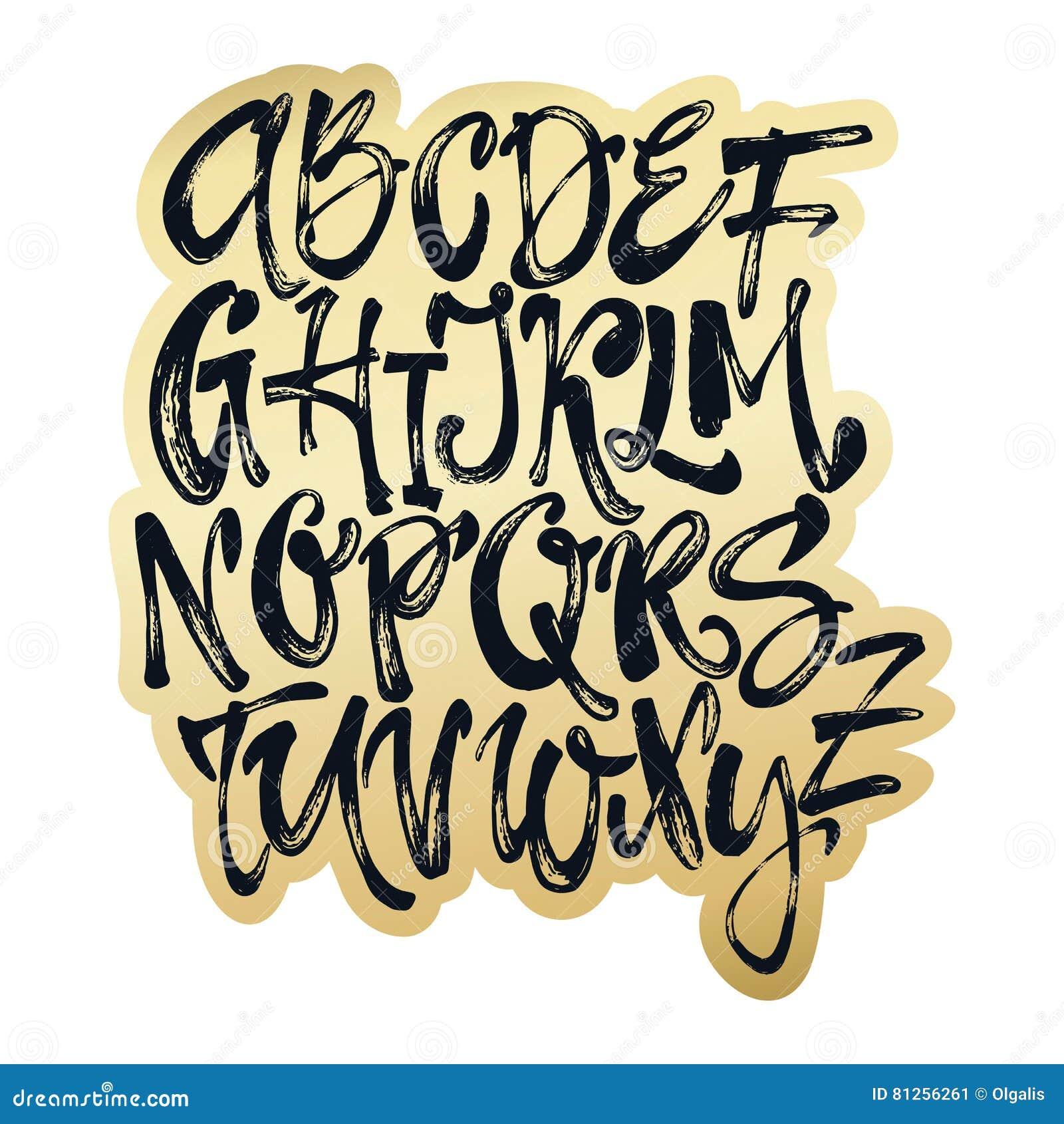 Alphabet Artistique affiche d'alphabet, copie moderne artistique de calligraphie d'encre