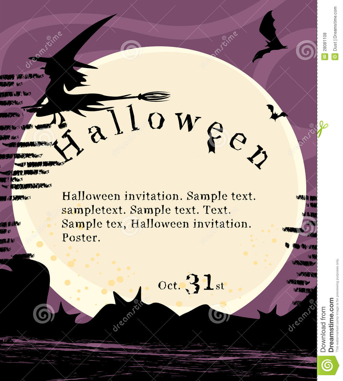 Affiche d 39 invitation de halloween illustration de vecteur illustration du c te nuages 28081108 - Image d halloween gratuite ...