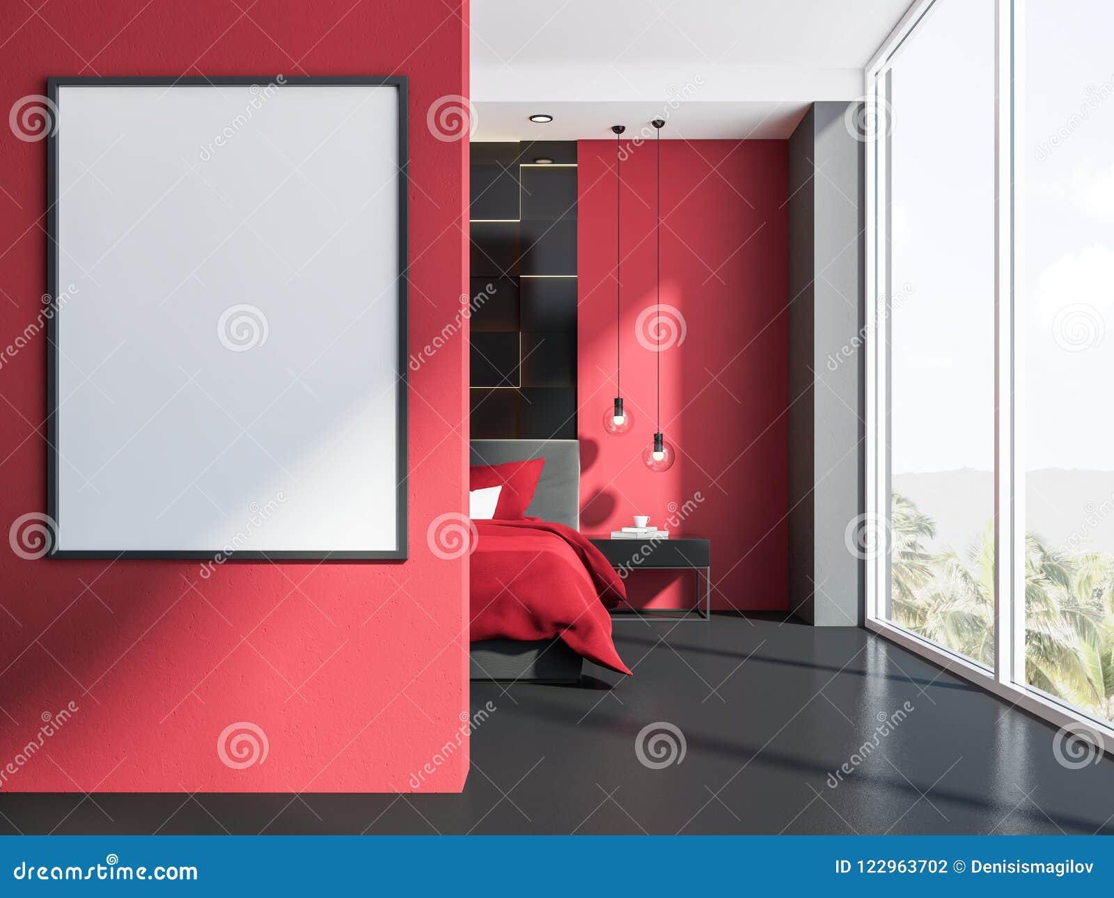 Affiche Dans Un Intérieur Rouge Et Gris De Chambre à Coucher ...