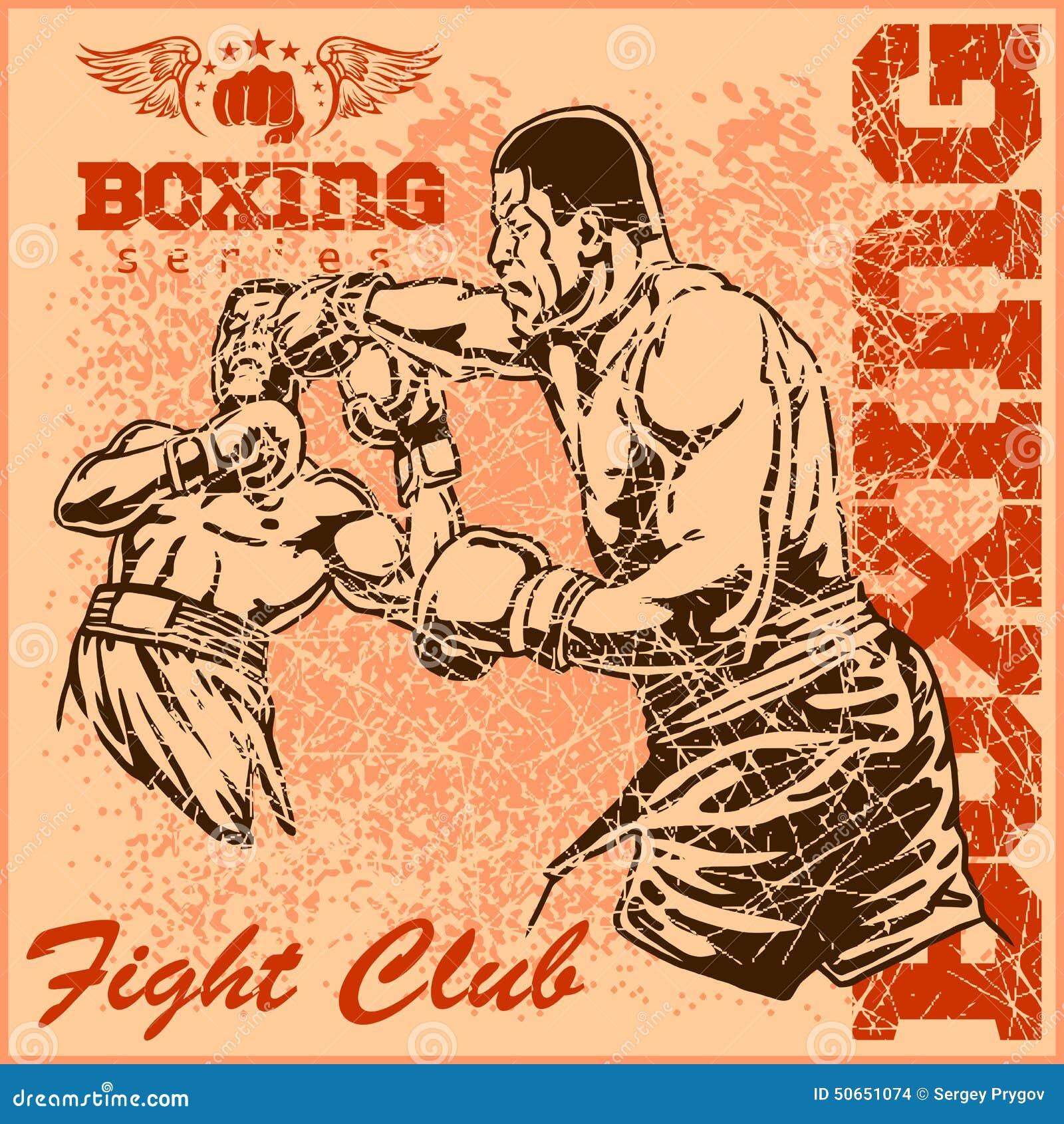 Affiche de boxe de vintage illustration de vecteur image - Gants de boxe vintage ...