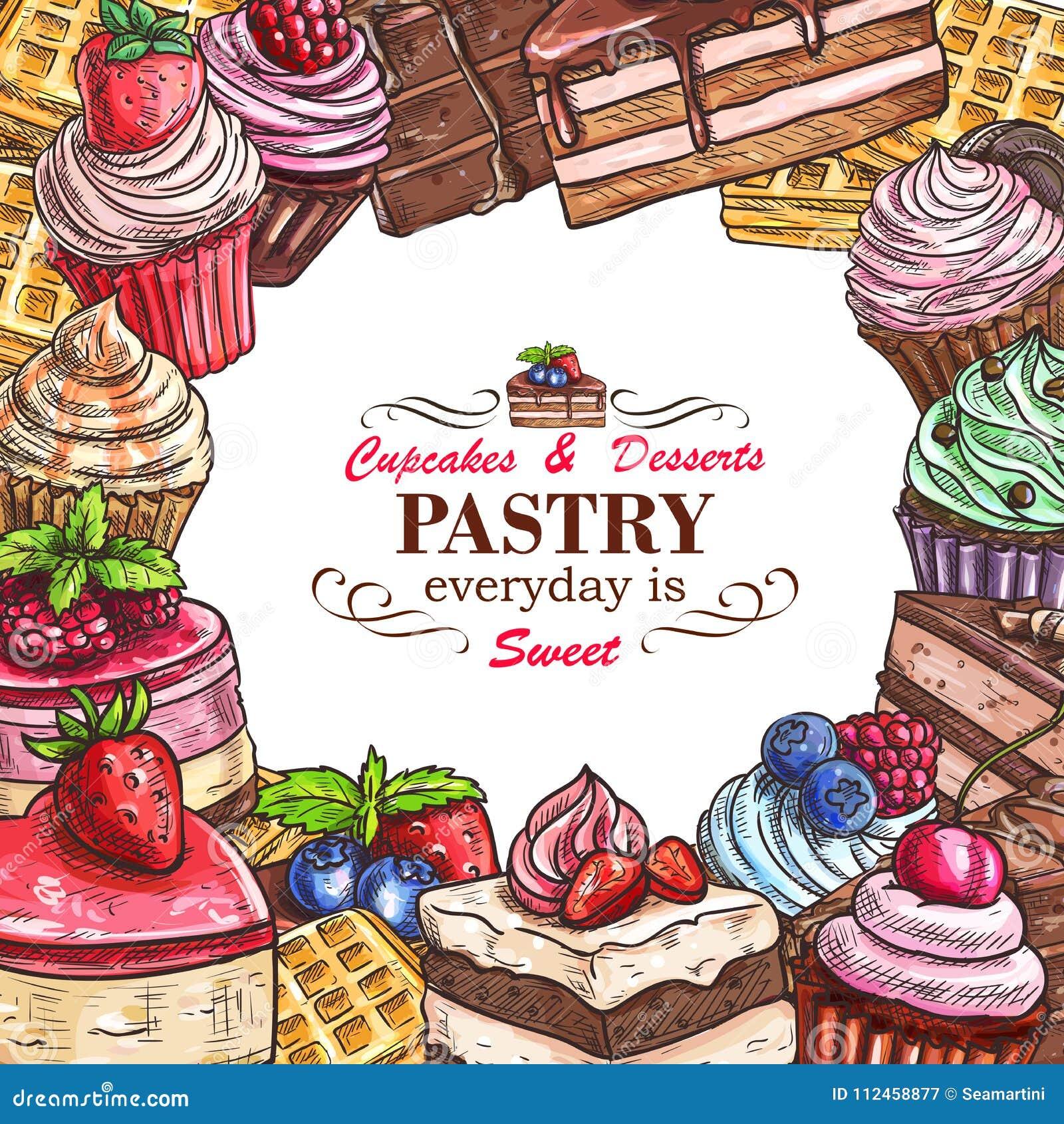 Affiche De Croquis De Boutique De Pâtisserie De Desserts ...