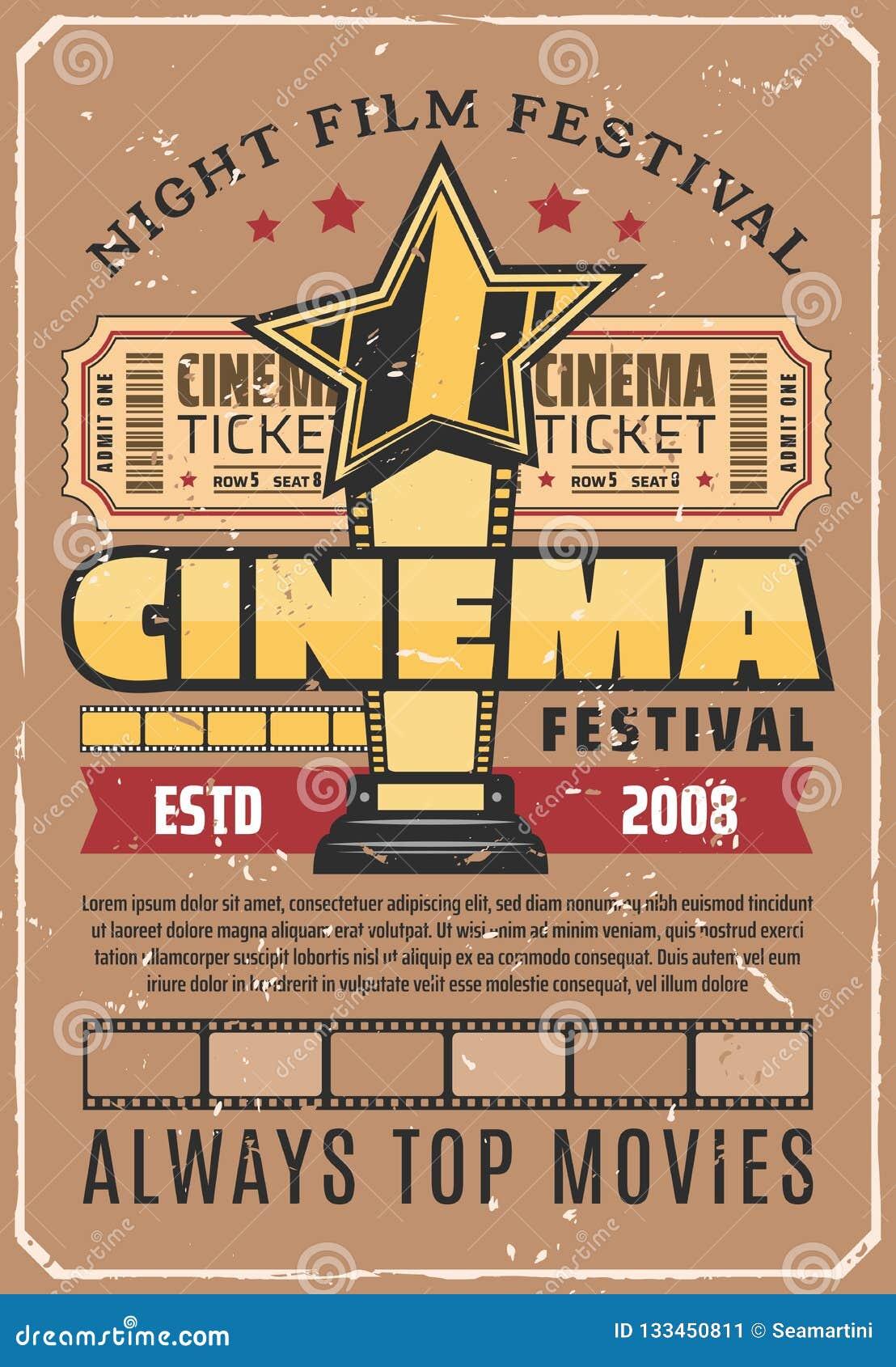 Affiche de festival de cinéma rétro avec la récompense de film d or
