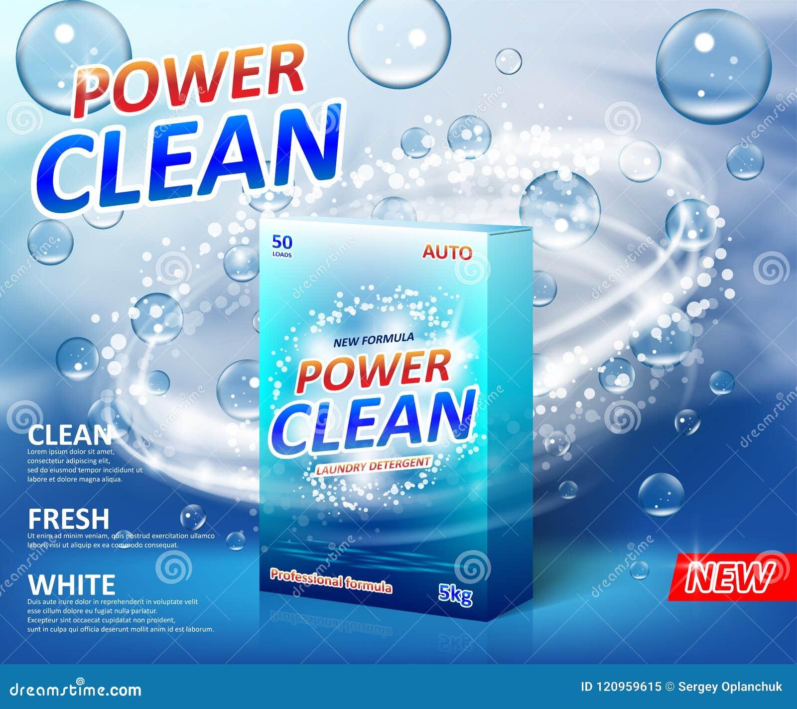 Affiche de la publicité de détergent de blanchisserie de poudre Calibre de label de paquet de boîte de carton de poudre à laver a