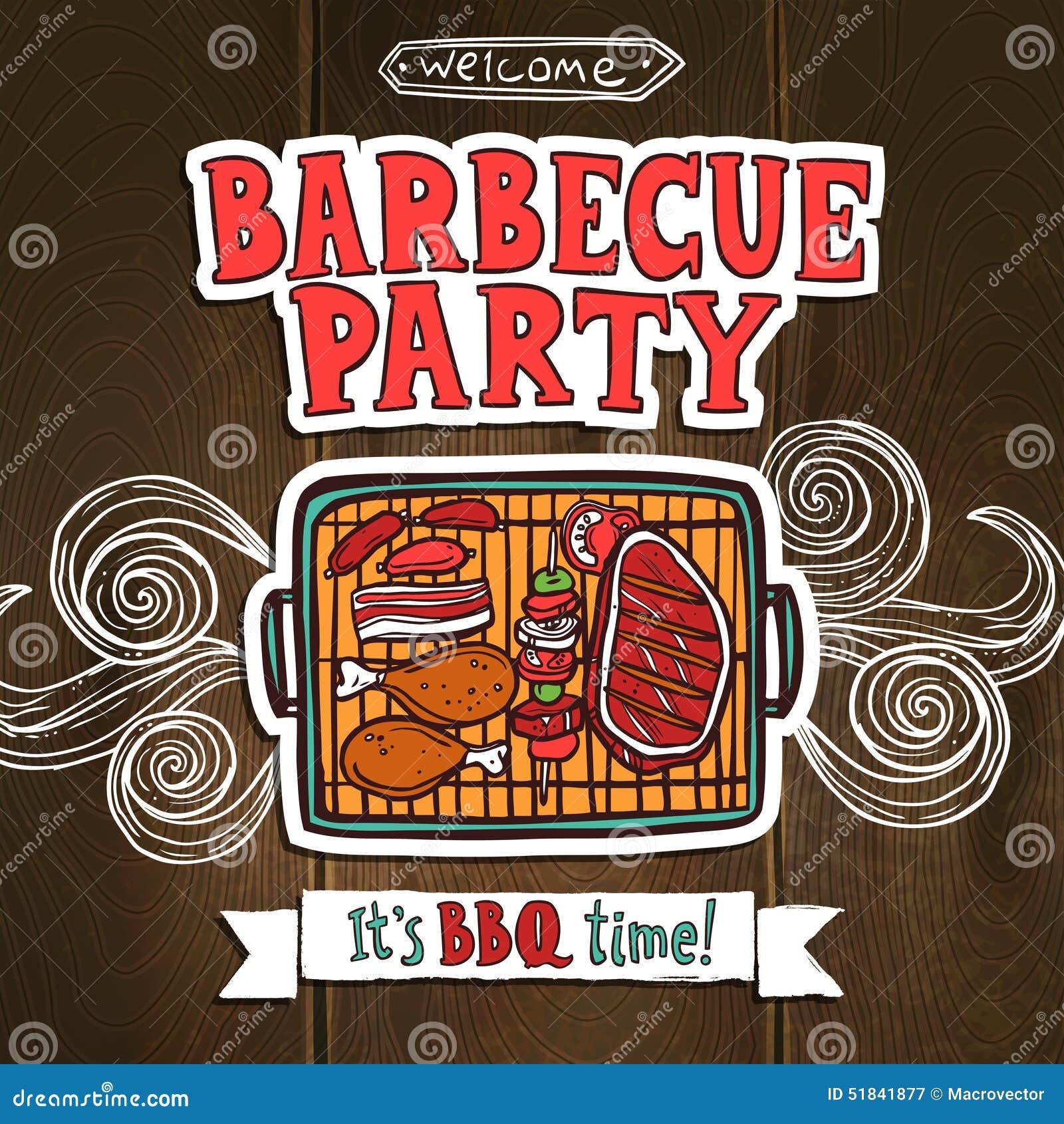 Affiche de partie de gril de BBQ