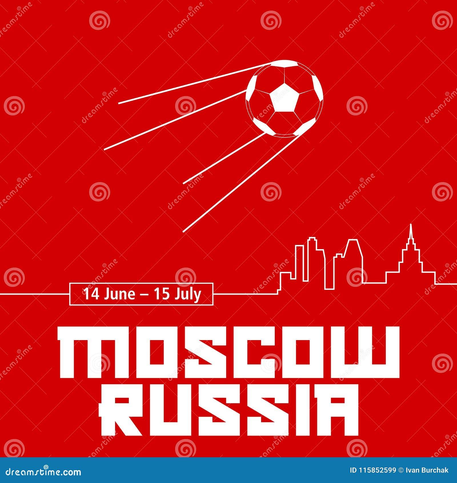 Affiche de rouge de Moscou, Russie Ballon de football sous forme de satellite de Spoutnik