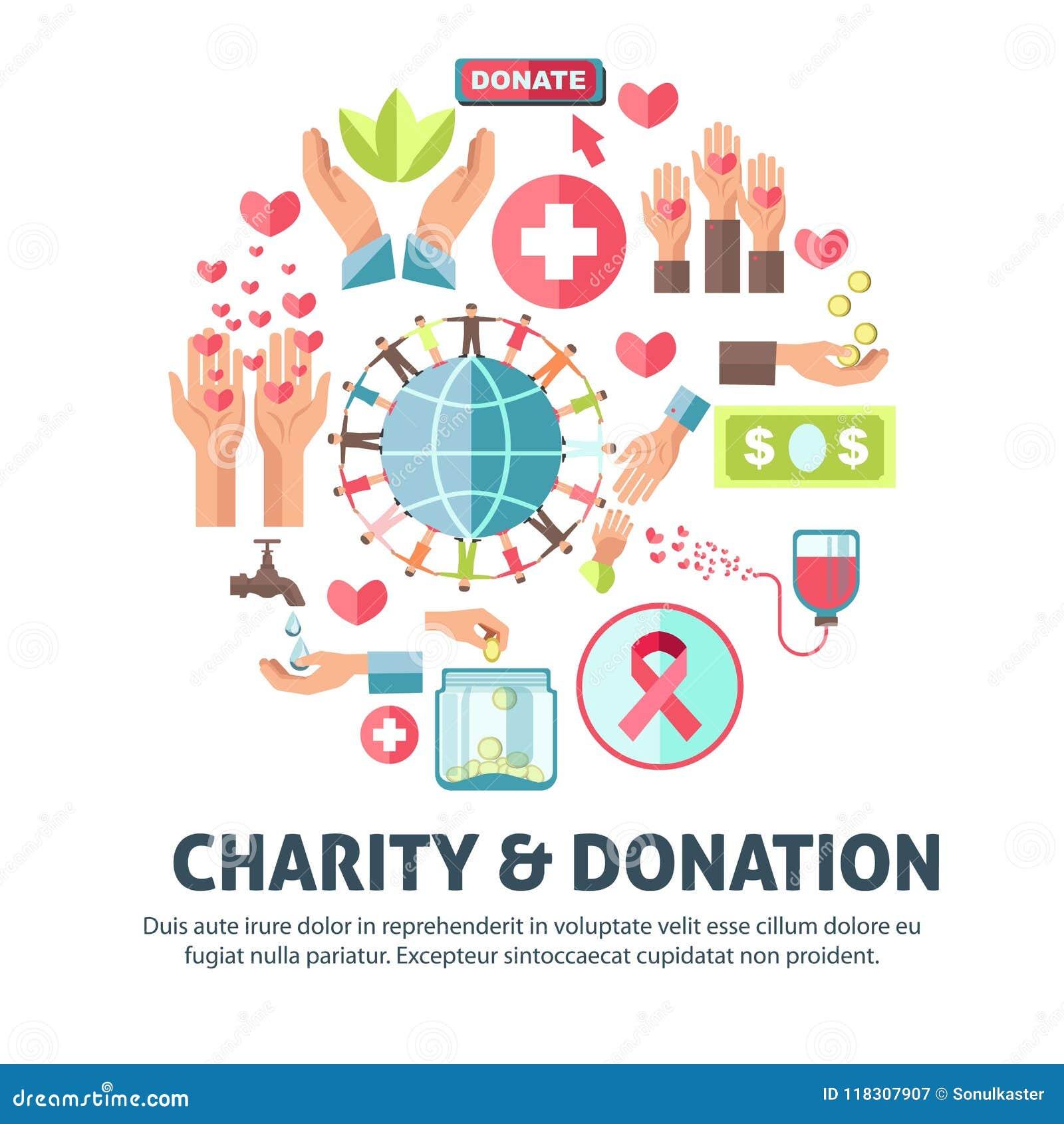 Affiche de vecteur de symboles de charité et de donation