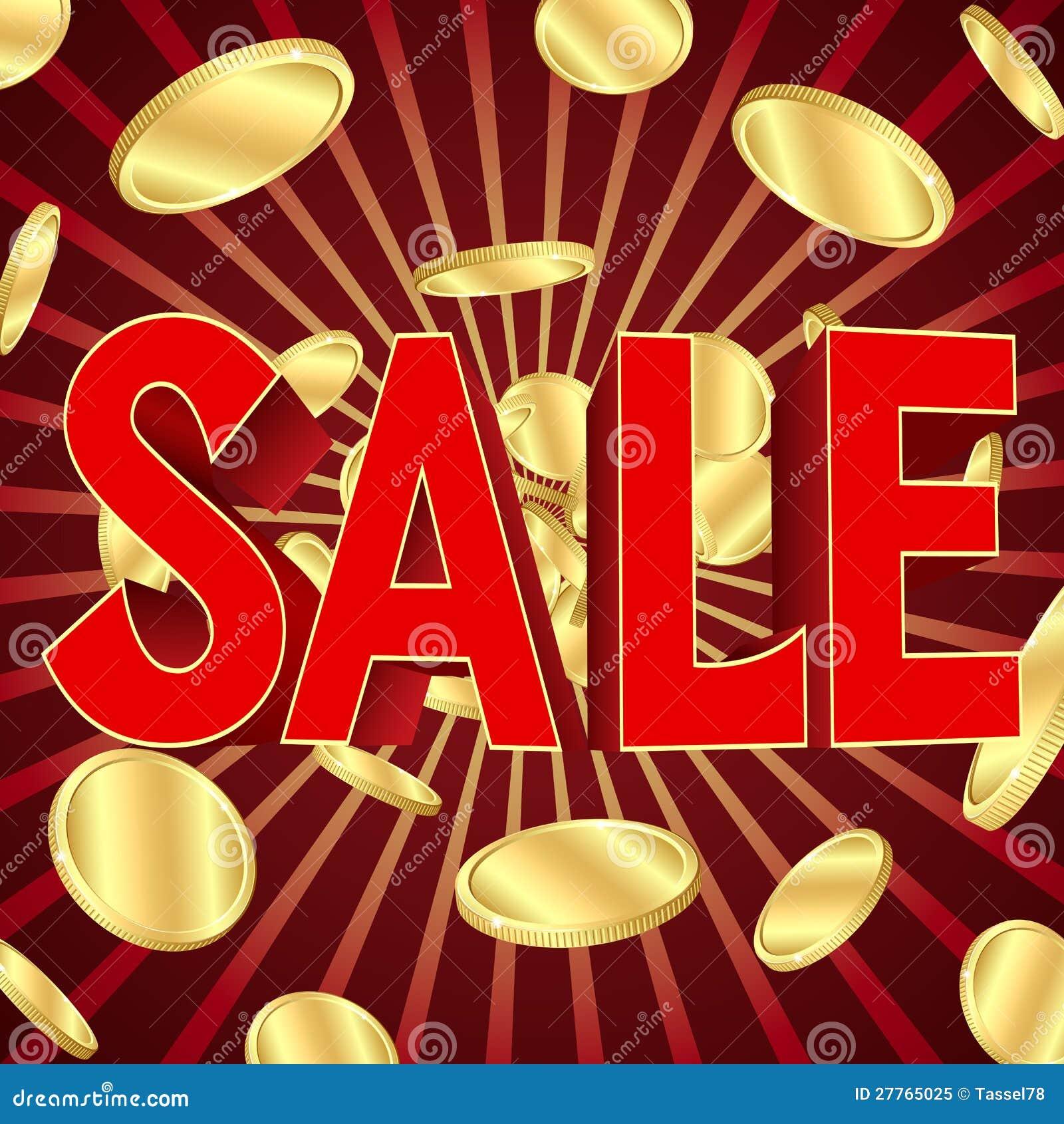 Affiche de vente avec des pièces d or