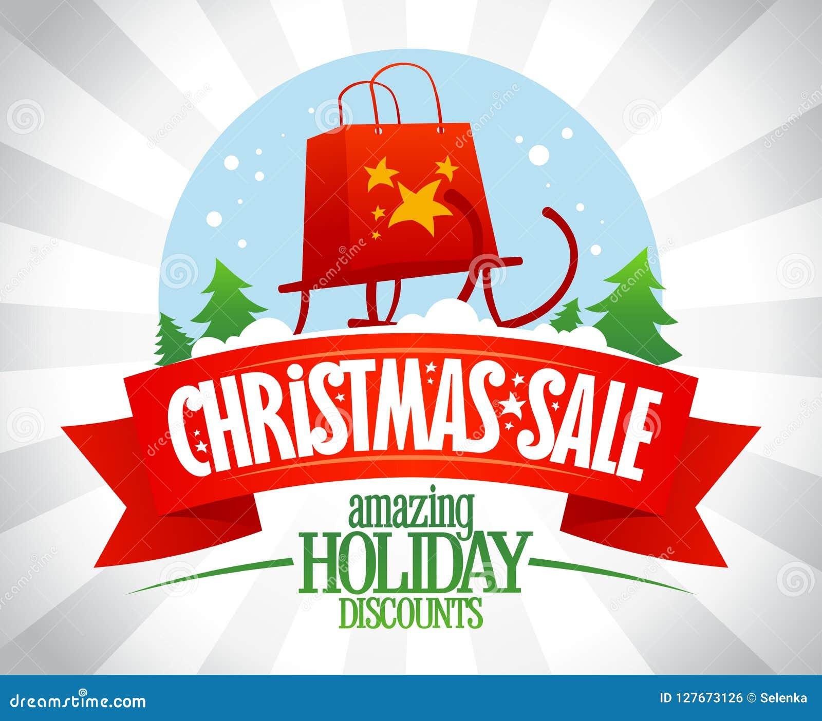 Affiche de vente de Noël, remises étonnantes de vacances, illustration de vecteur avec le globe de neige