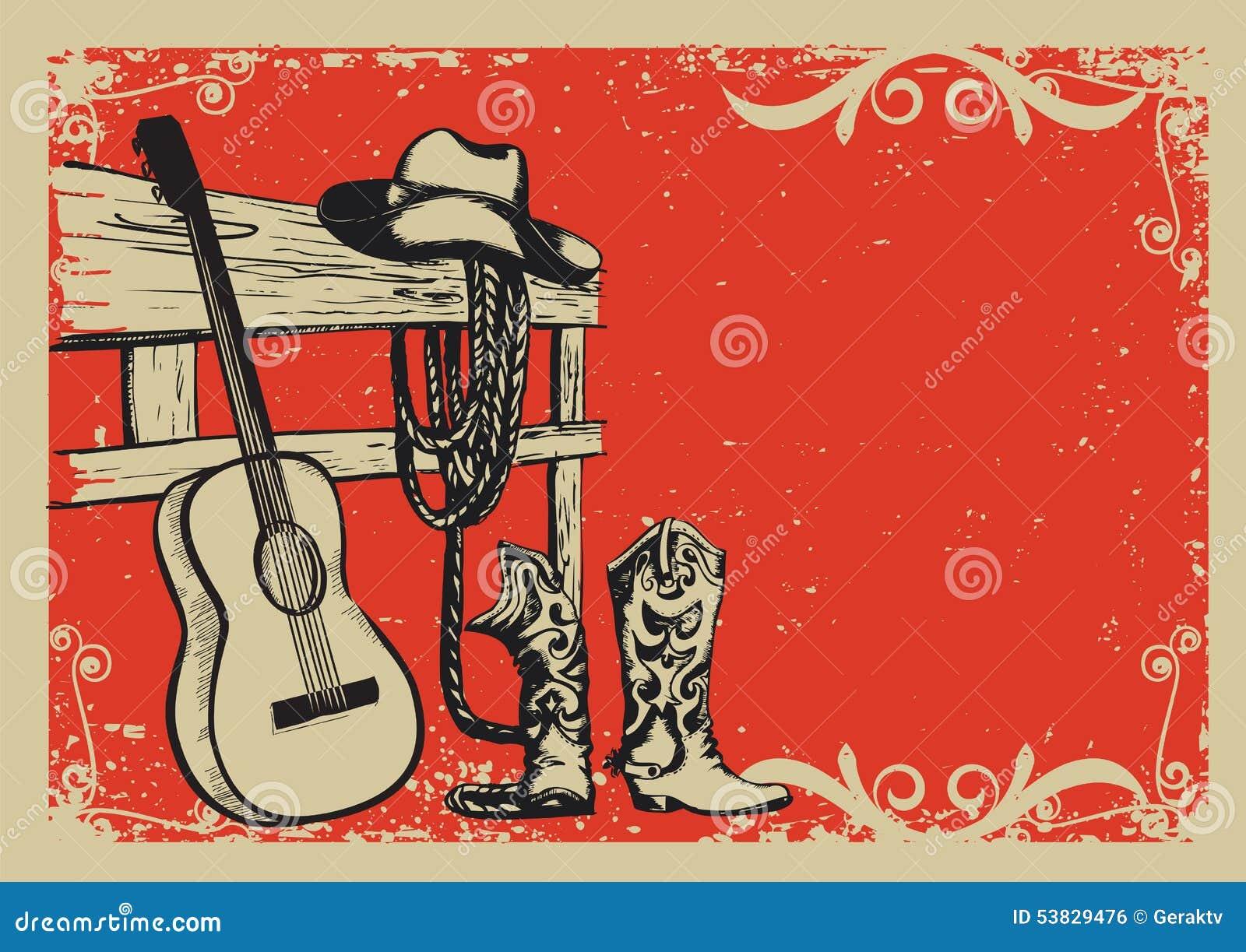 Affiche De Vintage Avec Les Vêtements De Cowboy Et La ...