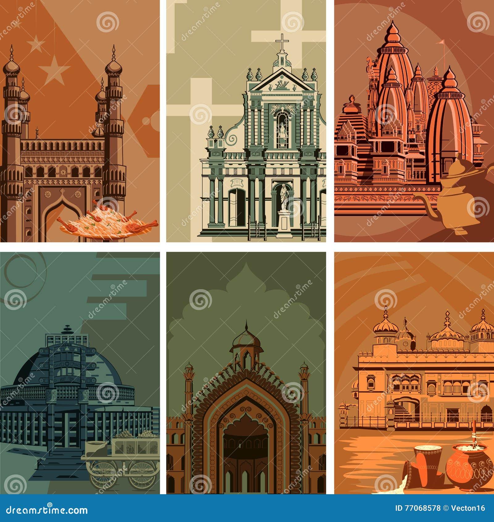 Affiche de vintage d endroit célèbre de point de repère avec le monument d héritage dans l Inde