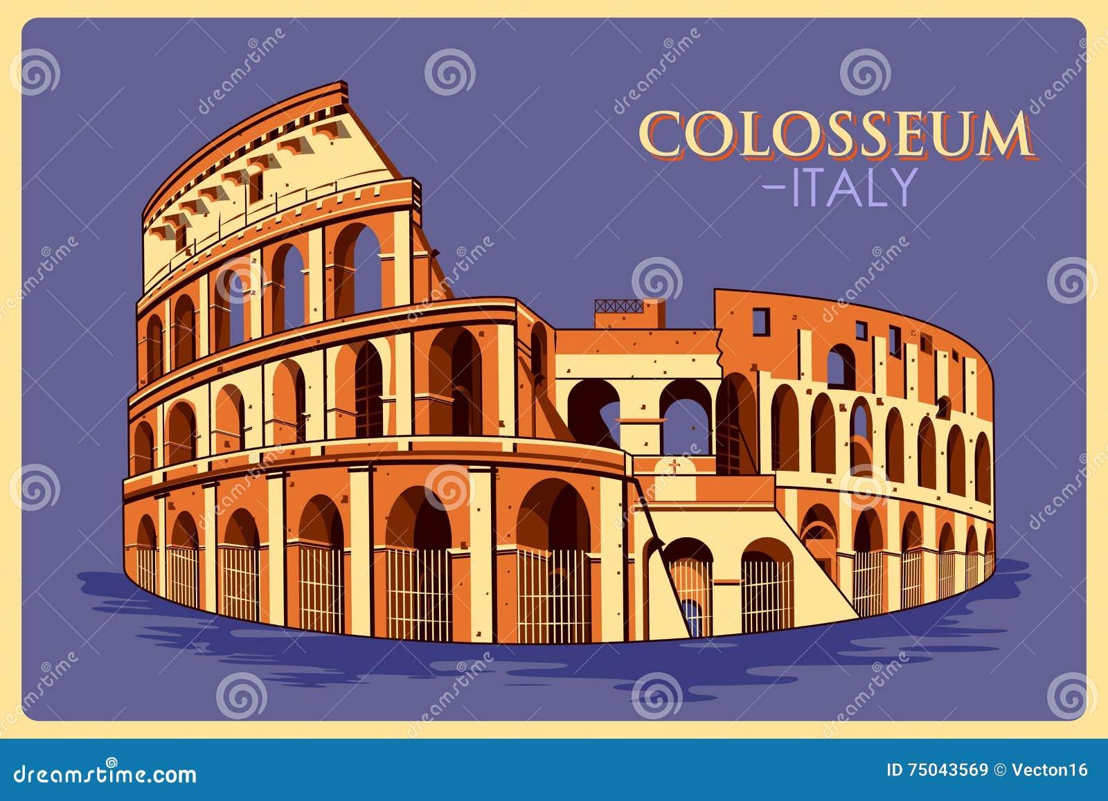 Affiche de vintage de Colosseum en monument célèbre de Roma en Italie
