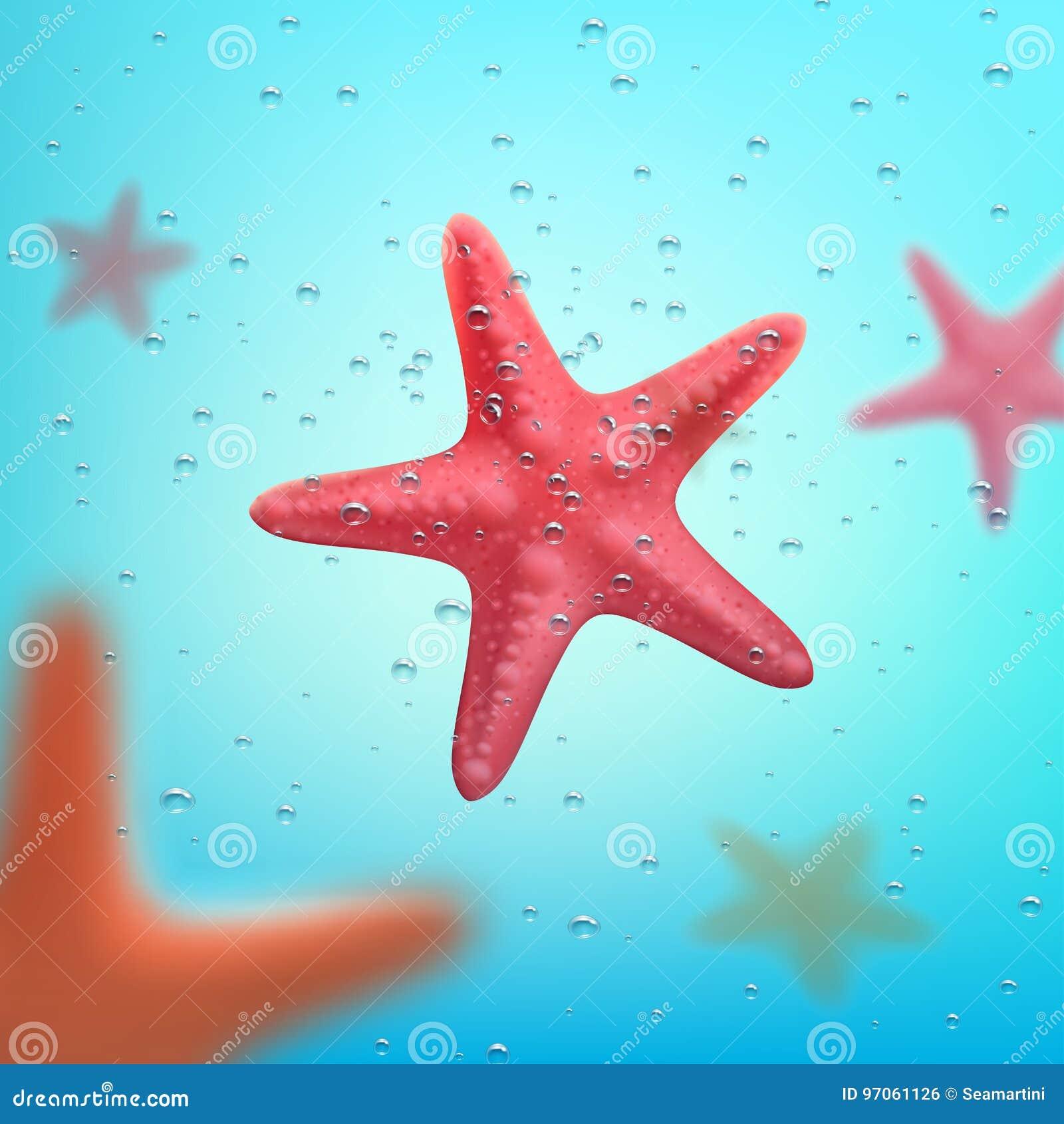 Affiche de voyage d océan d été ou d étoiles de mer de vacances