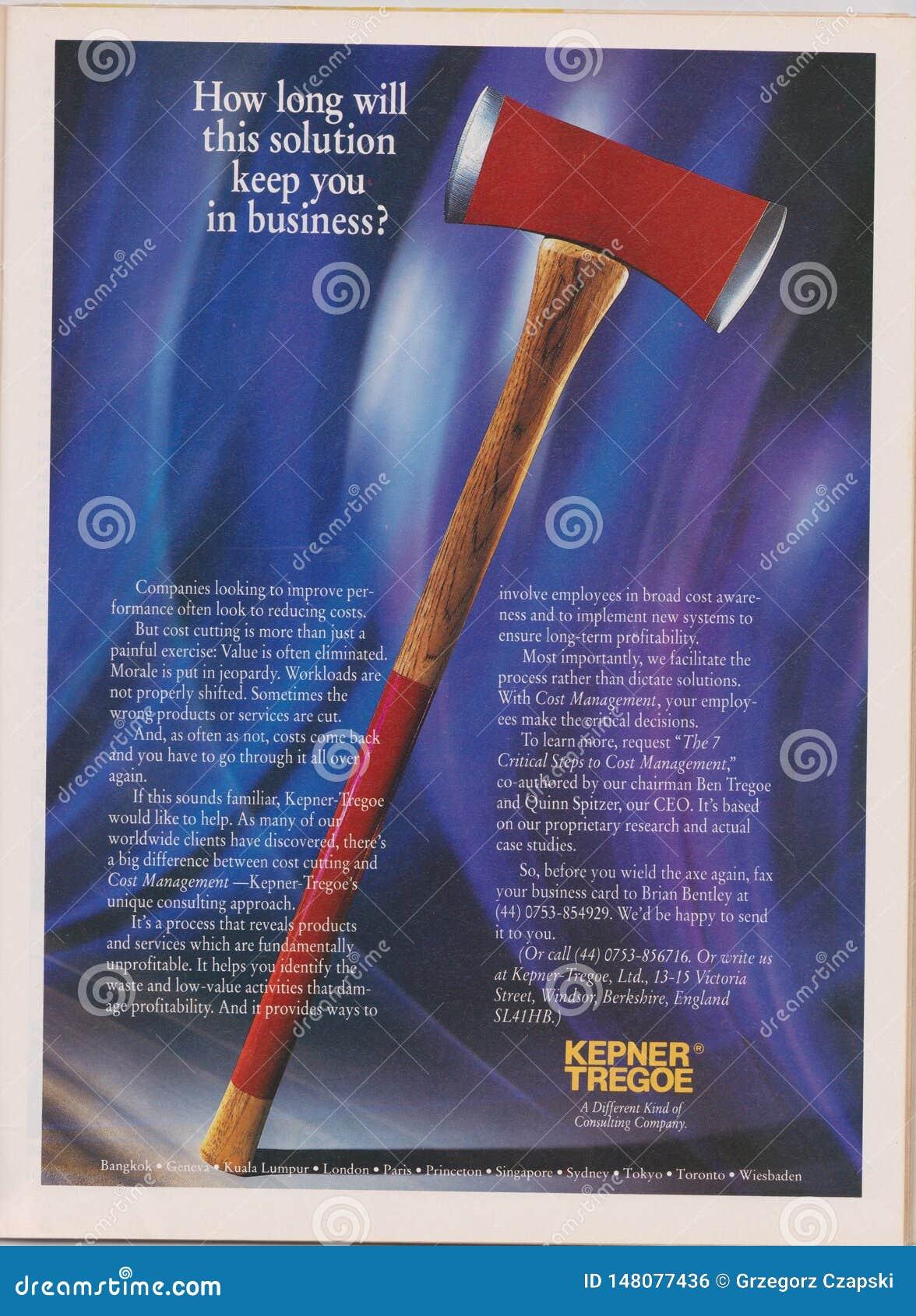 Affiche die adverteren Kepner Tregoe in tijdschrift vanaf 1992, hoe lang deze oplossing u in zaken zal houden? slogan