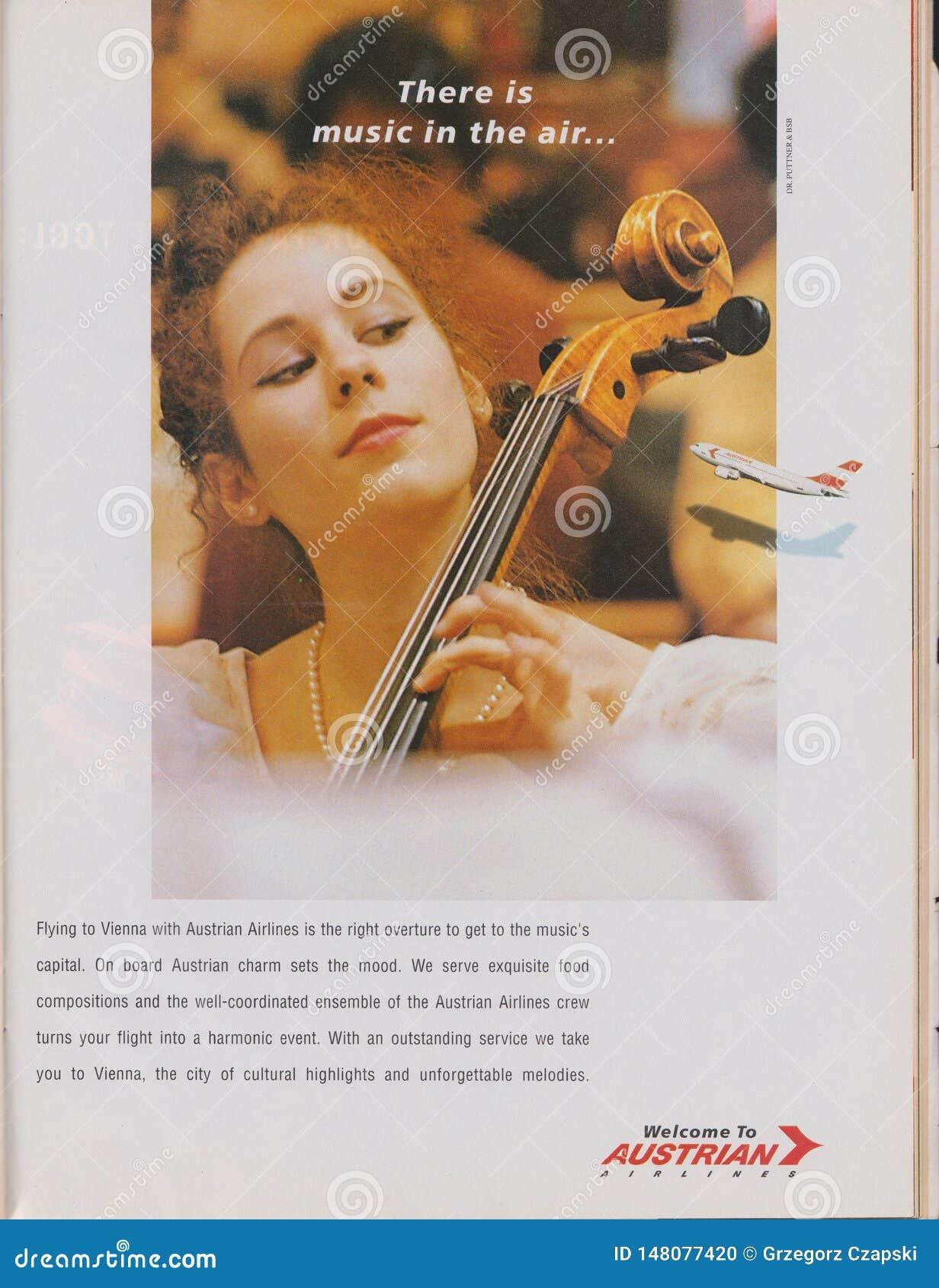 Affiche die Austrian Airlines in tijdschrift vanaf 1992 adverteert, is Er muziek in de luchtslogan