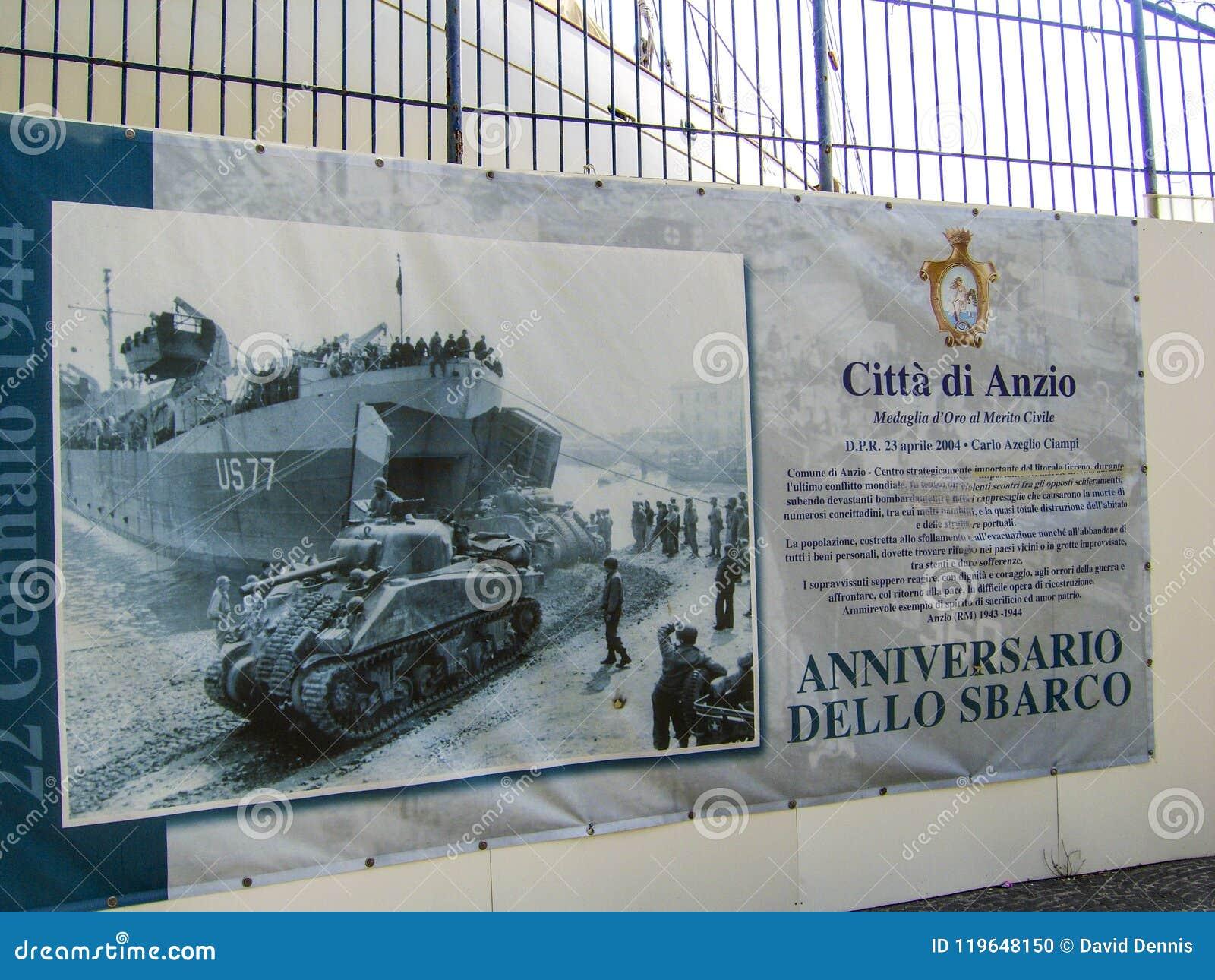 Affiche die de het bevrijden invasie tonen door de krachten van Verenigde Staten in Anzio, Oorlog II van Italië duringWorld