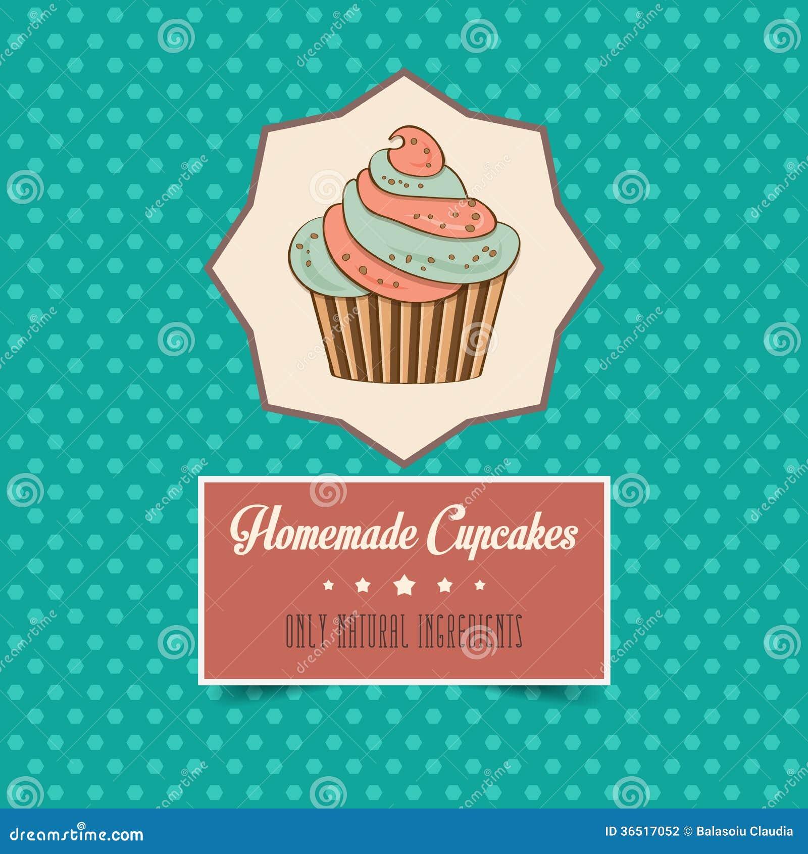 Affiche faite maison de petits gâteaux de vintage