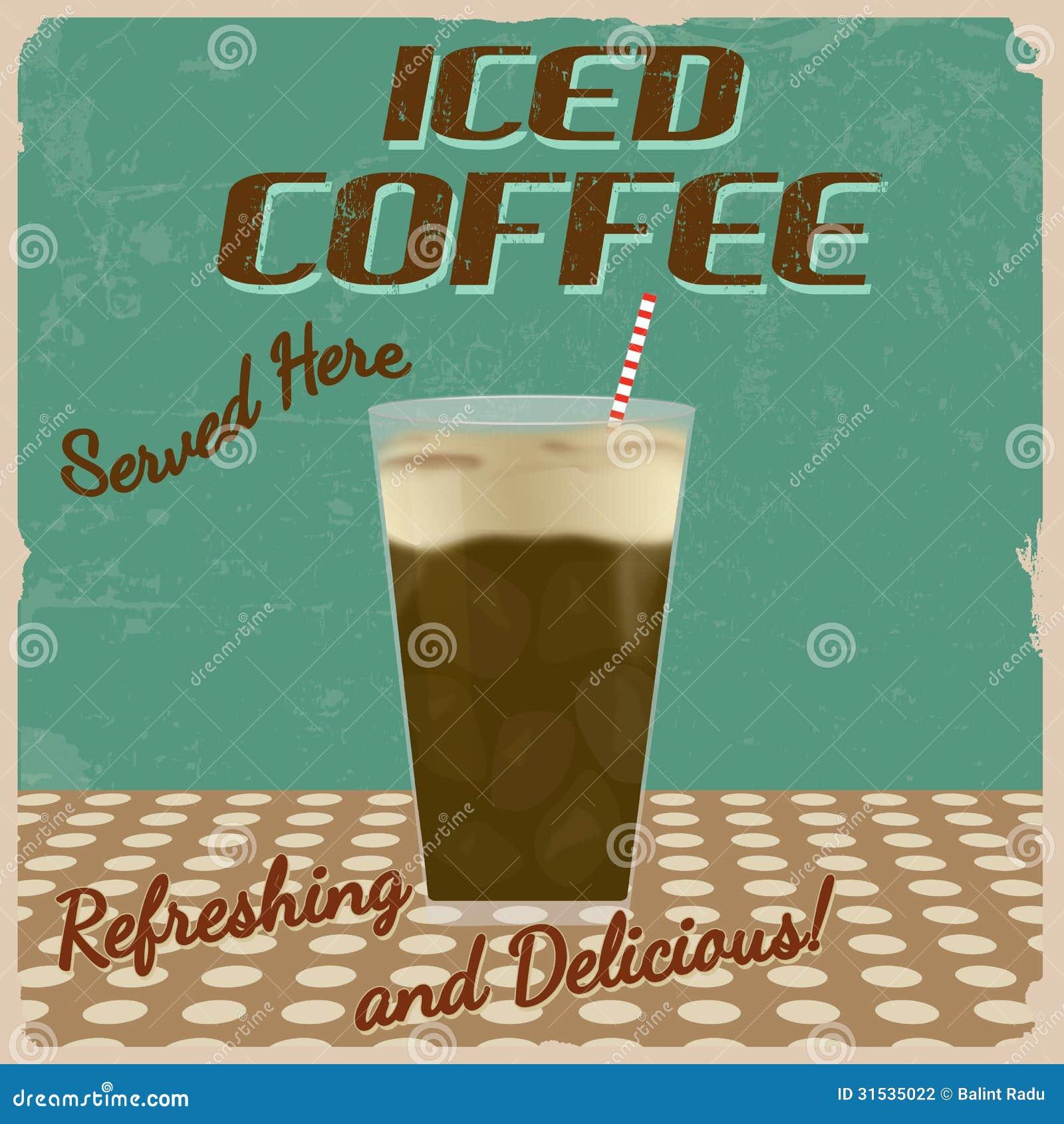 Affiche glacée de vintage de café