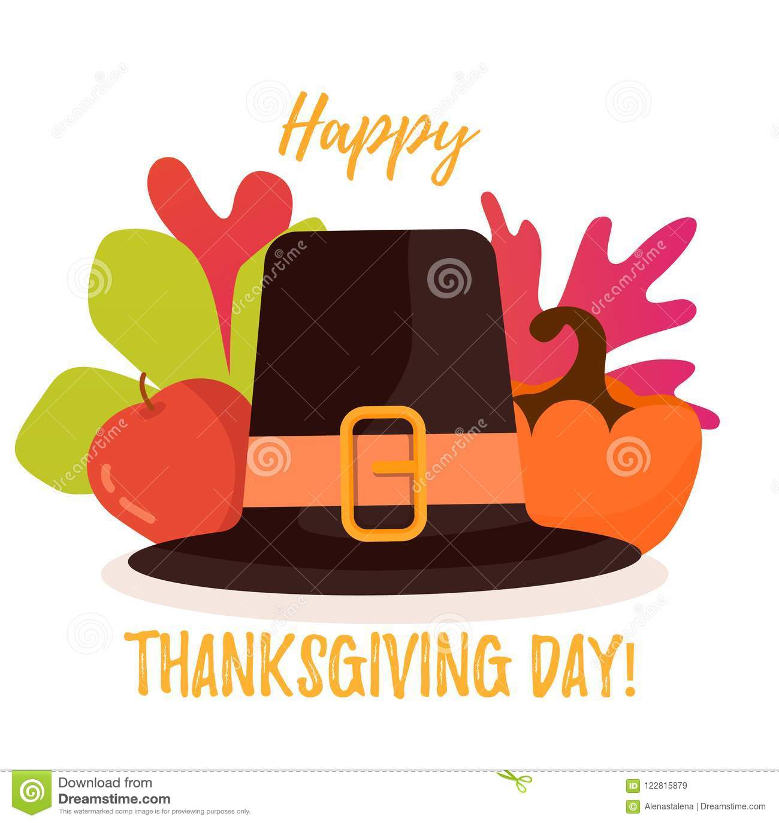 Affiche heureuse de jour de thanksgiving Feuilles, pomme et potiron d automne derrière le chapeau