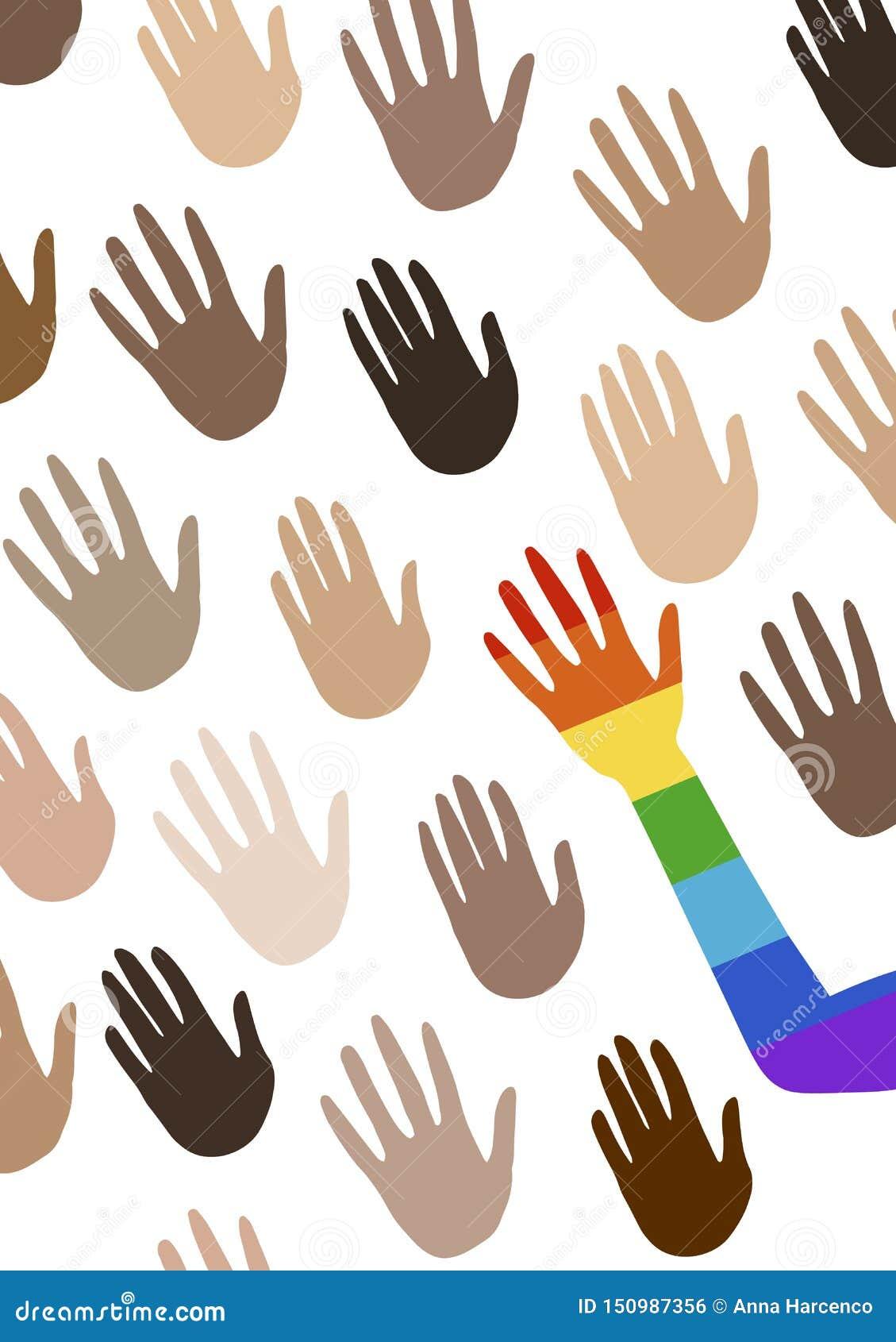 Affiche met multi etnische groepshanden en het vertellen over gendergelijkheid De vlag van het spectrum van trots, homoseksualite