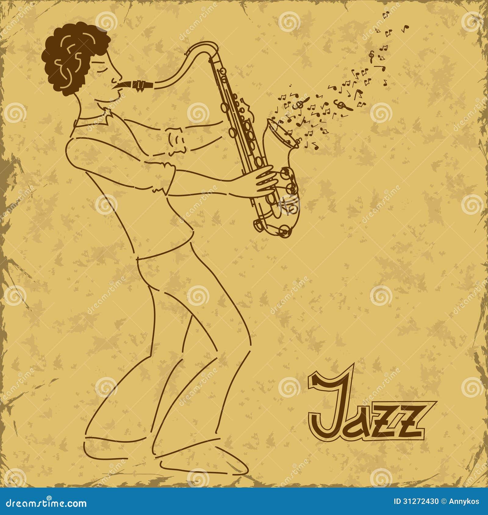 Affiche met musicus het spelen saxofoon