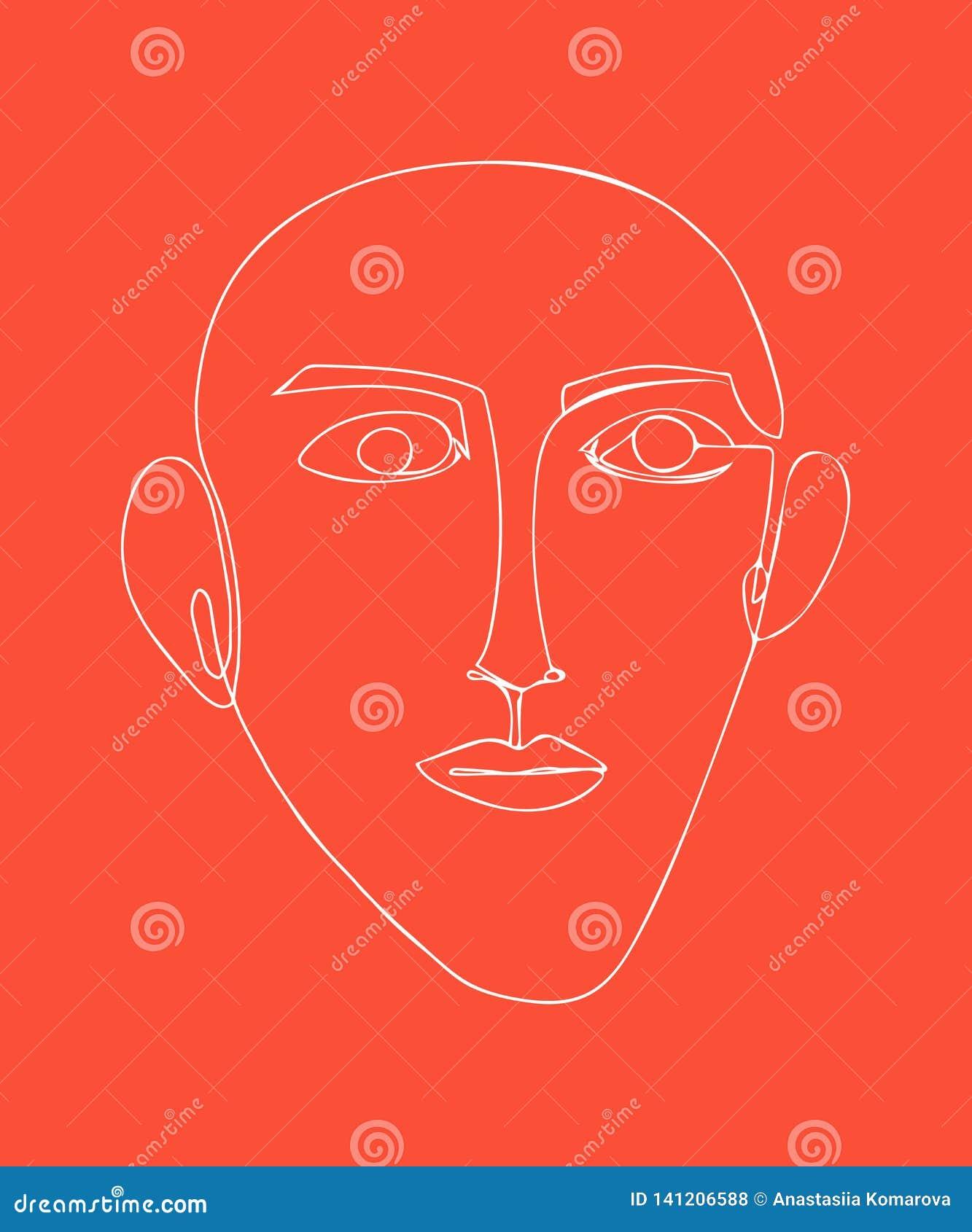 Affiche moderne avec le visage linéaire abstrait Portrait d avant-garde
